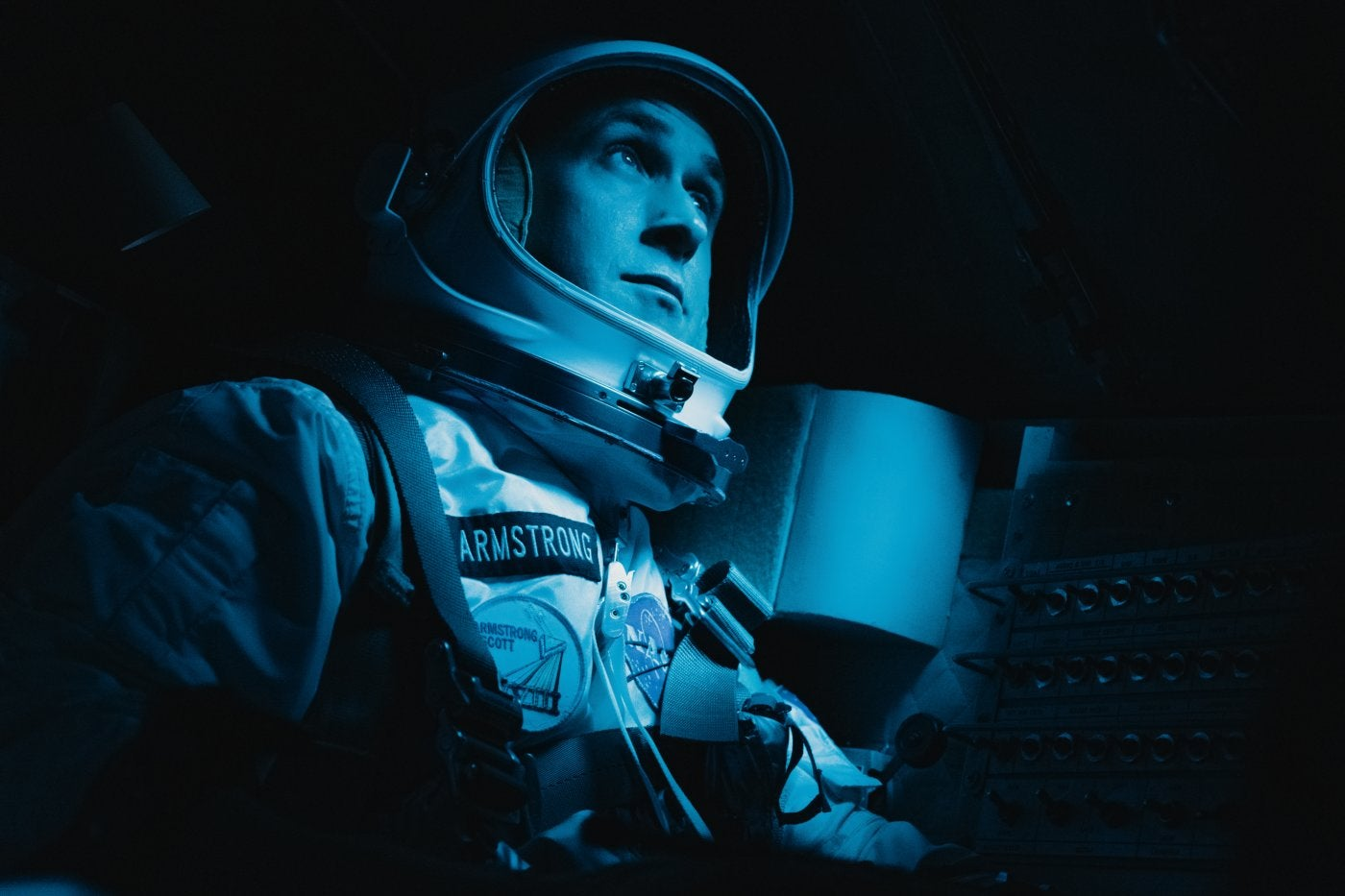 "Ryan Gosling, Goldemn Gloeb winner, in a sceen from ""First Man"""