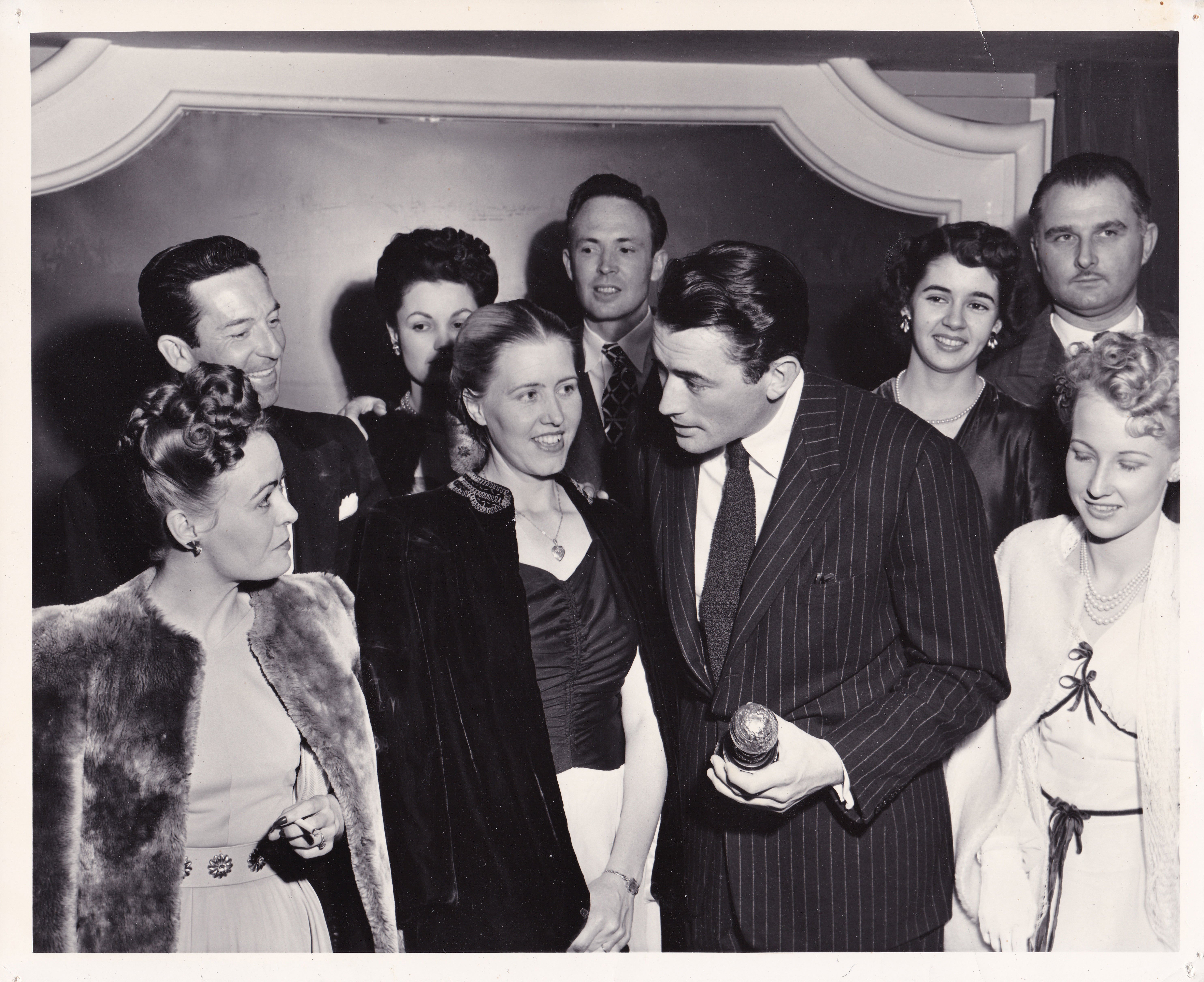 Gregory Peck at the 1947 Golden Globe Awards with this Golden Globe as Best Actor