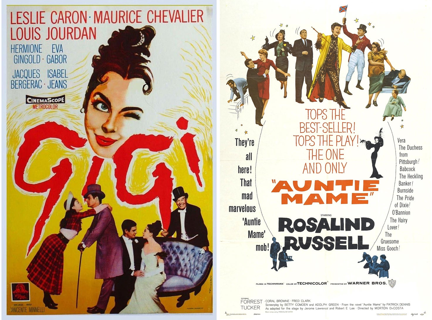 "Movie poster for ""Gigi"" and ""Auntie Mame"""