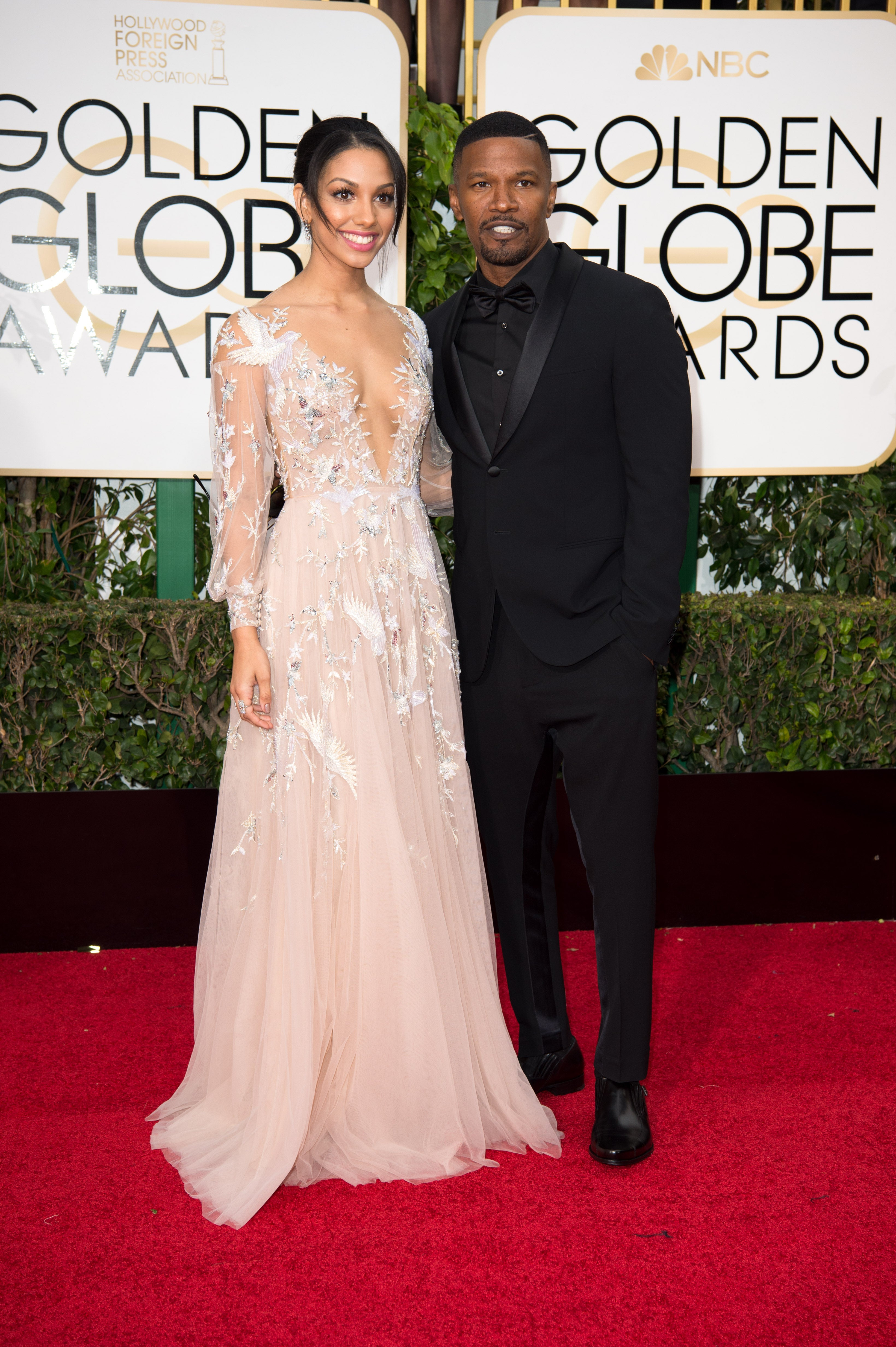 red carpet moments jamie foxx and miss golden globe