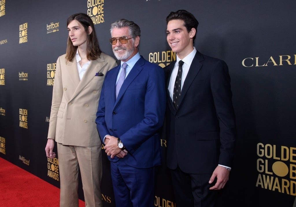 Dylan and Paris Brosnan, GG Ambassadors 2020, with father Pierce Brosnan