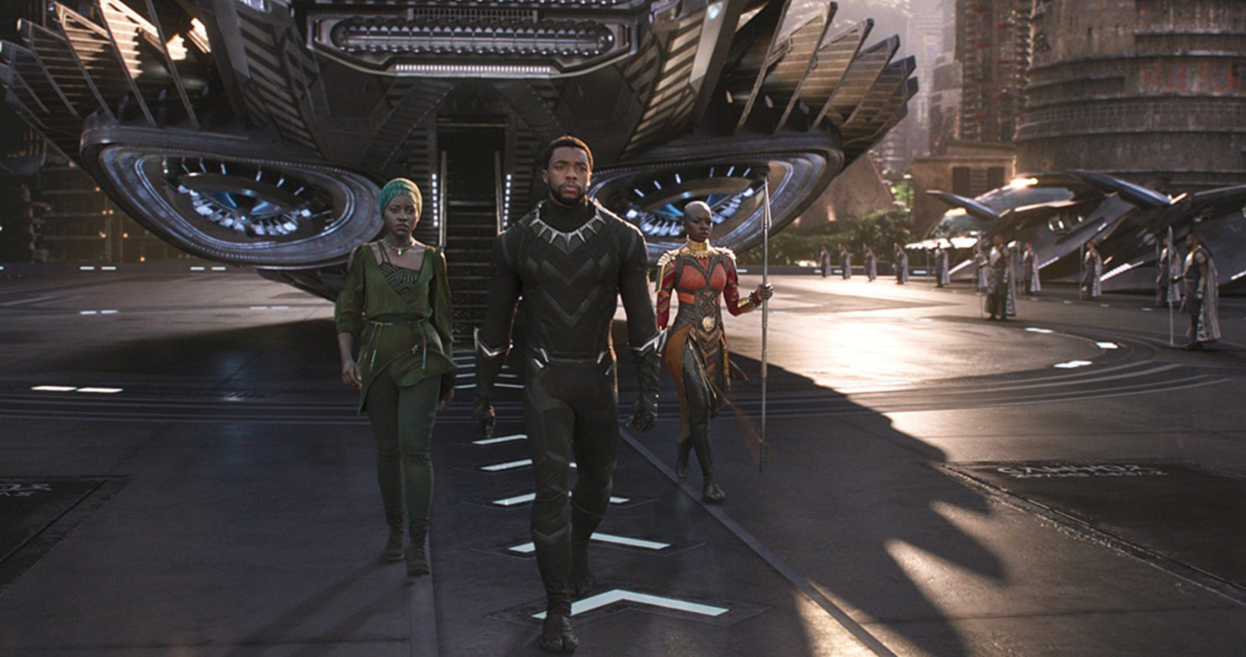 Chadwick Boseman, Danai Gurira, and Lupita Nyong'o in a scene from Black Panther