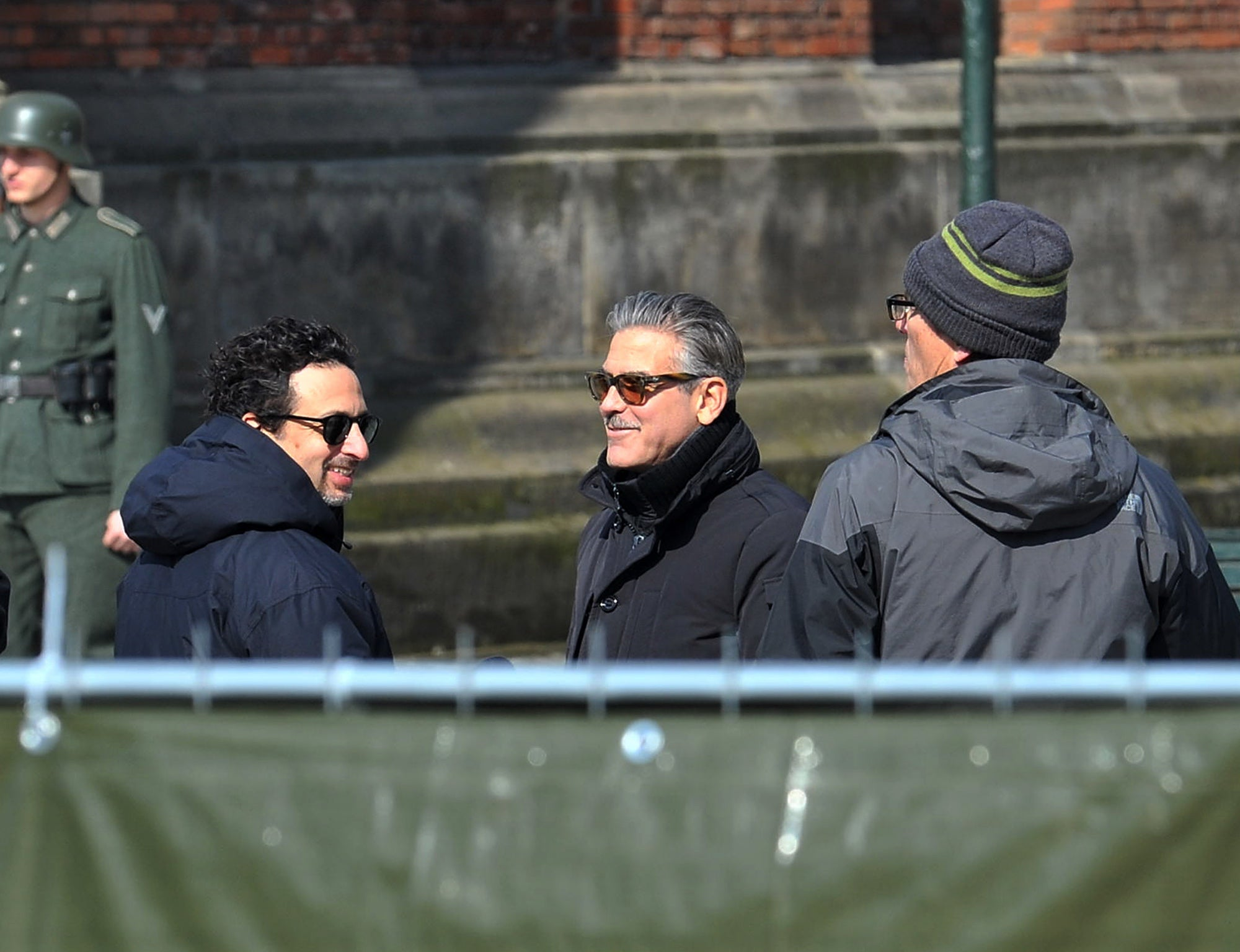George George Clooney filiming Monuments Men at Berlin's Babelsberg Studios, 2013