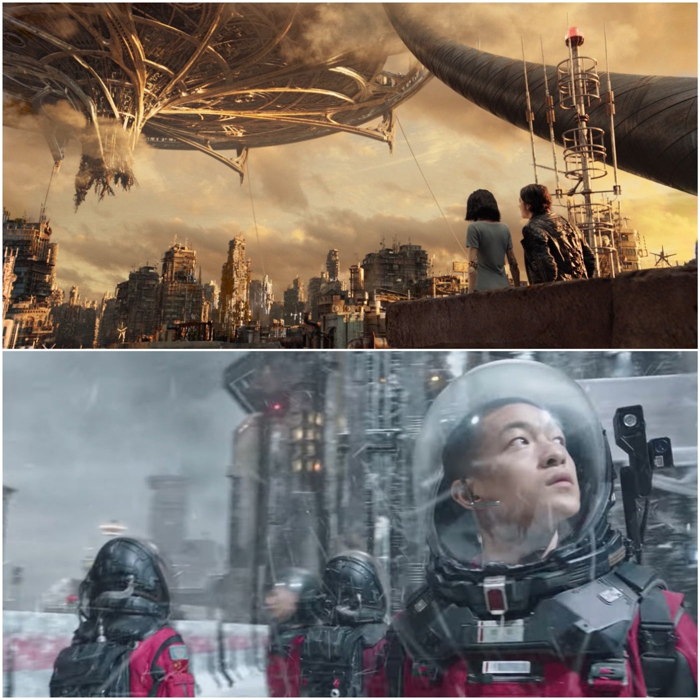 "Scenees from ""Alita: Battle Angel""and ""The Wandering Earth"""