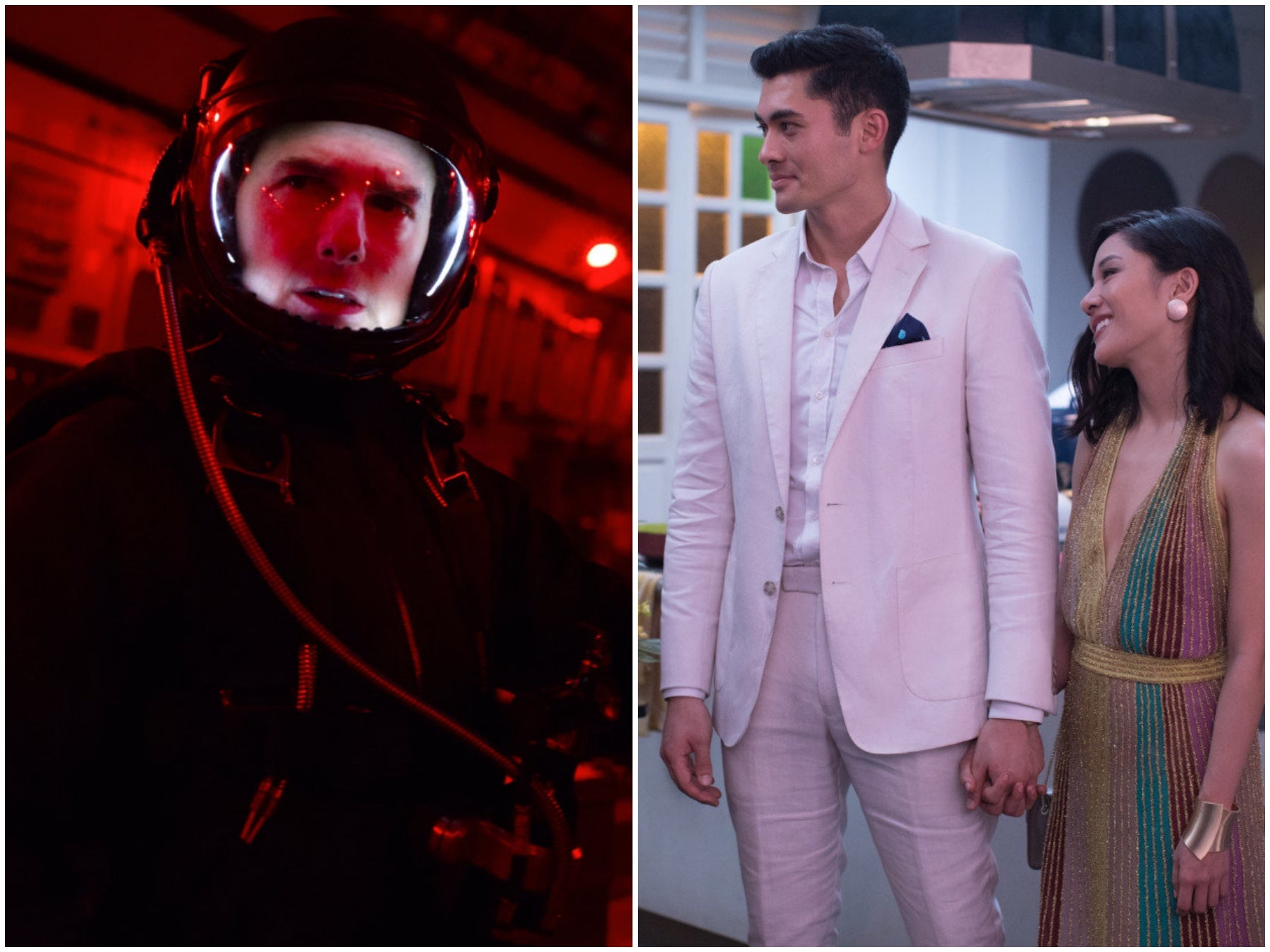 Scenes from Mission Impossible:Fallout and Crazy Rich Asians
