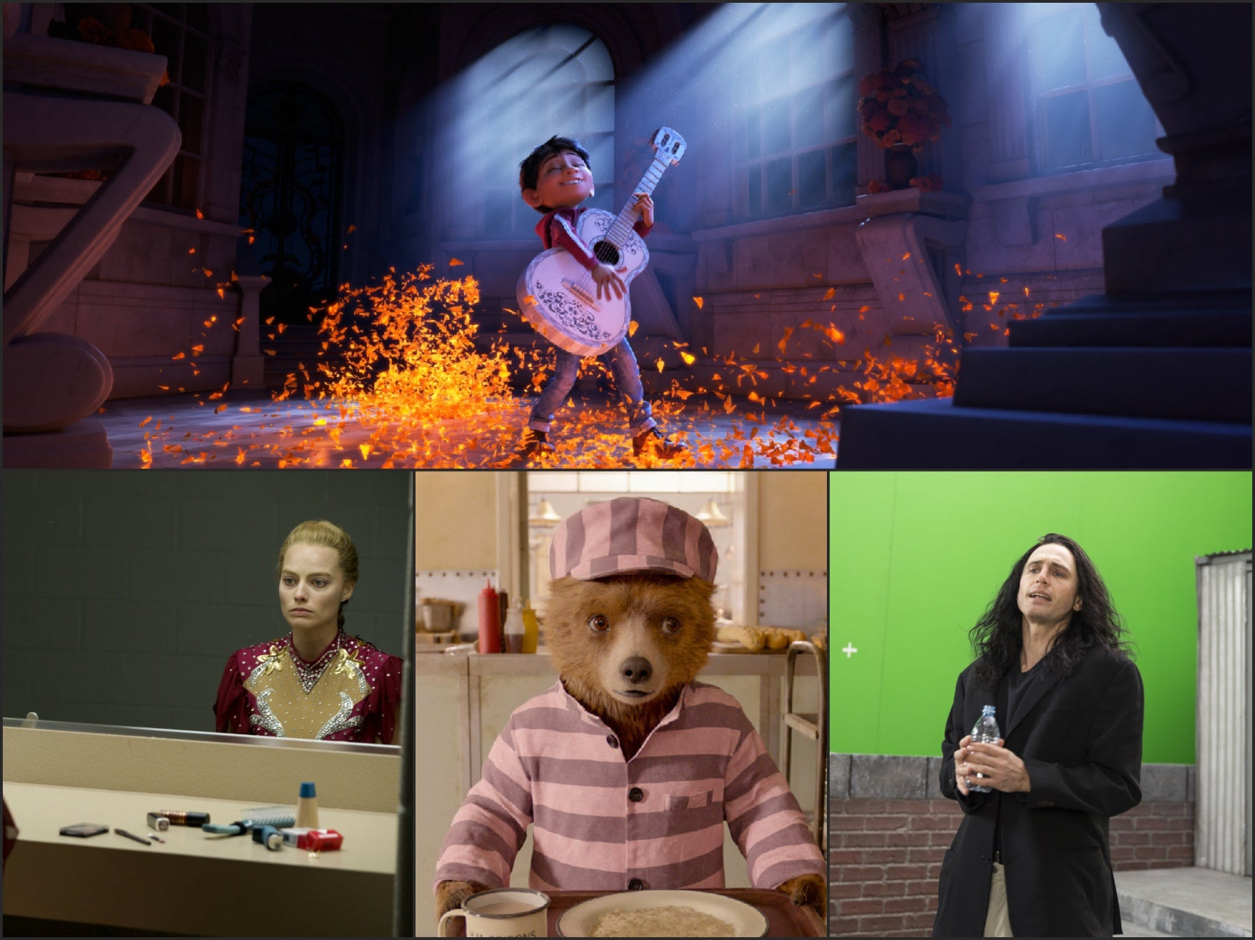 Scenes from the films Coco, The Disaster Artist, Paddngtom 2 and I, Tonya