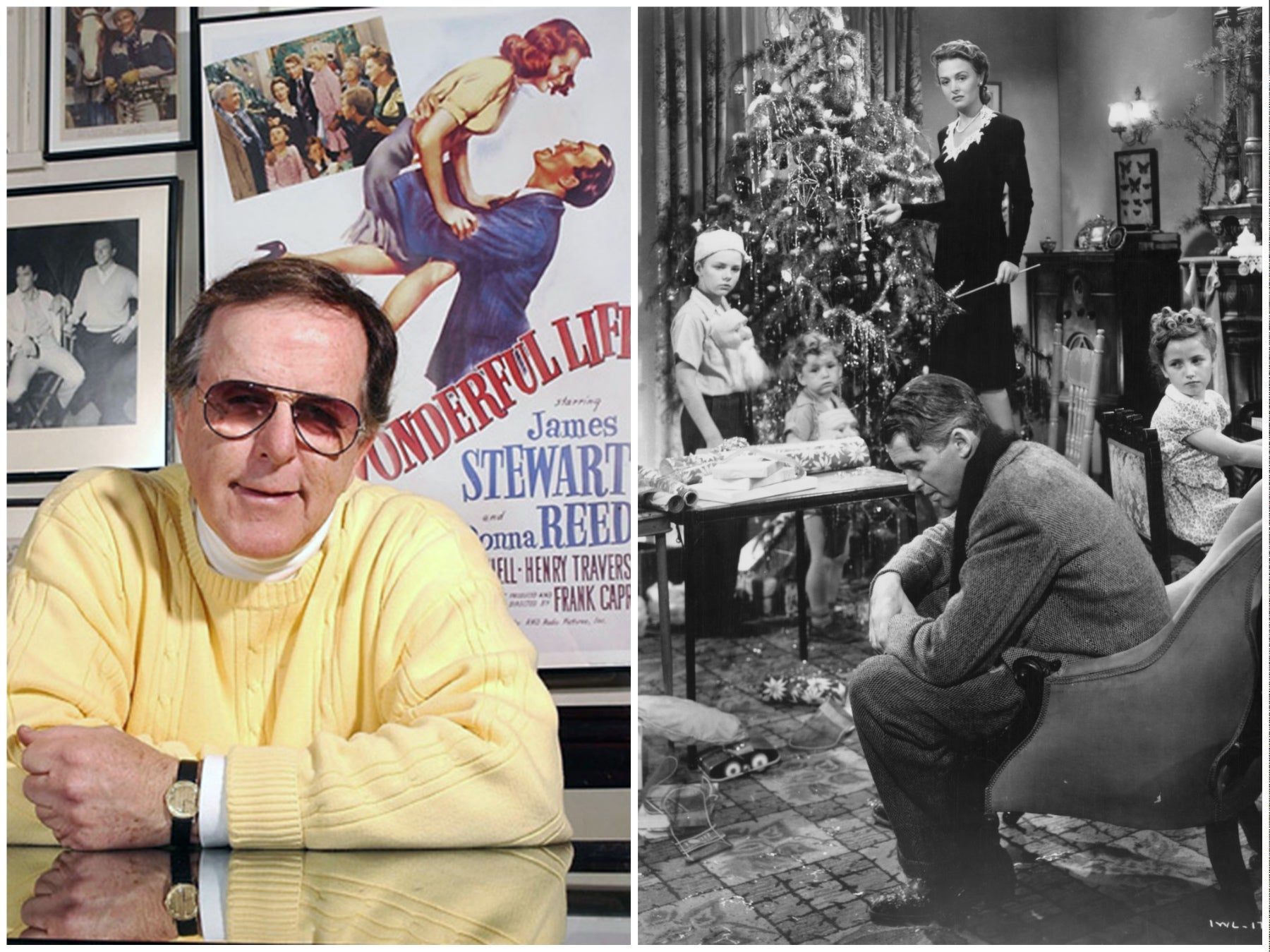 """Actor Jim Hawkins in 2016  and a scene from """"It's A Wonderful Life"""""""