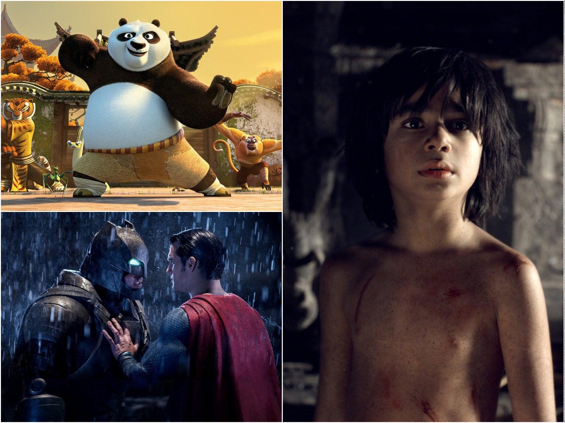 Scenes from Kung Fu Panda 3, Batman Vs Superman; and The Jungle Book