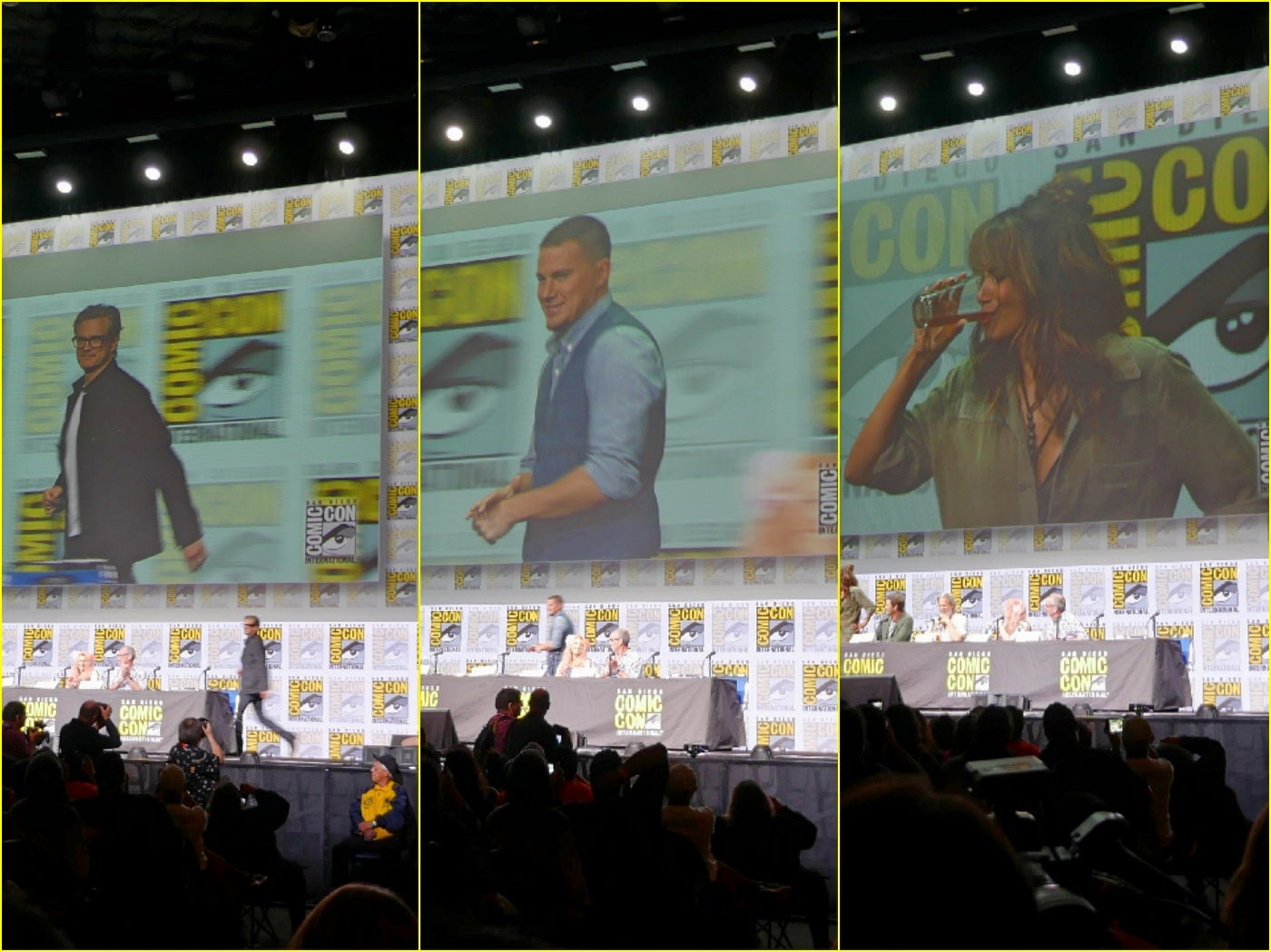 Actors Colin Firth, Channing Tatum and Halle Berry take thestage at Hall H, Comic-Con 2017