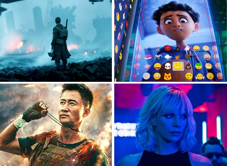 """Scenes from """"Dunkirk"""", """"The Emoji Movie"""", """"Wolf Warriors II"""" and """"Atomic Blonde"""""""
