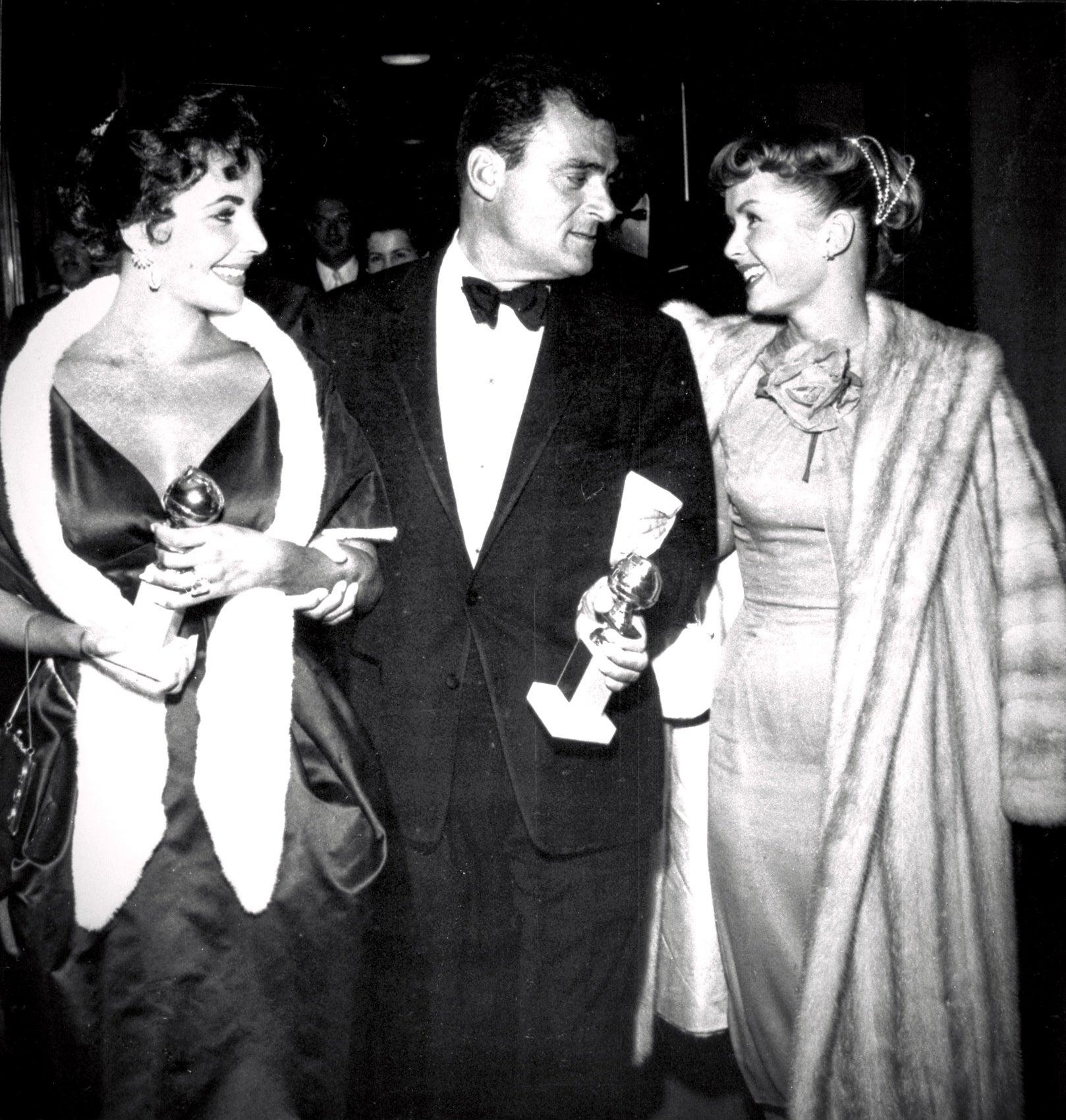 Eklizabeth Taylor, Mike Todd and Debbie Reynolds at teh Golden Globes 1957