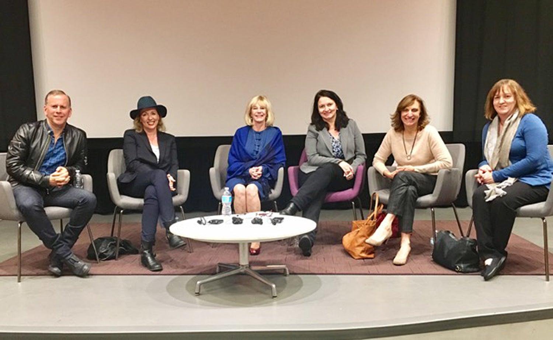 Scott Orlin, Elisabeth Sereda, Moderator Mary Murphy, Marlene Von Arx, Silvia Bizio and Jenny Cooney Carrillo