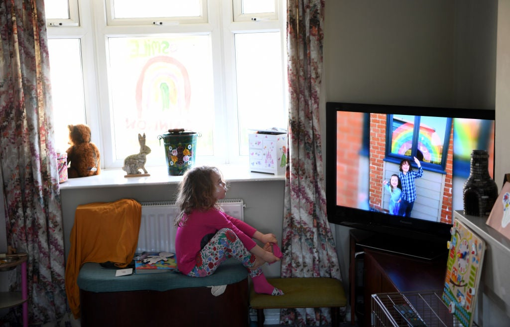 A child wathing TV during the pandemic, June 2020