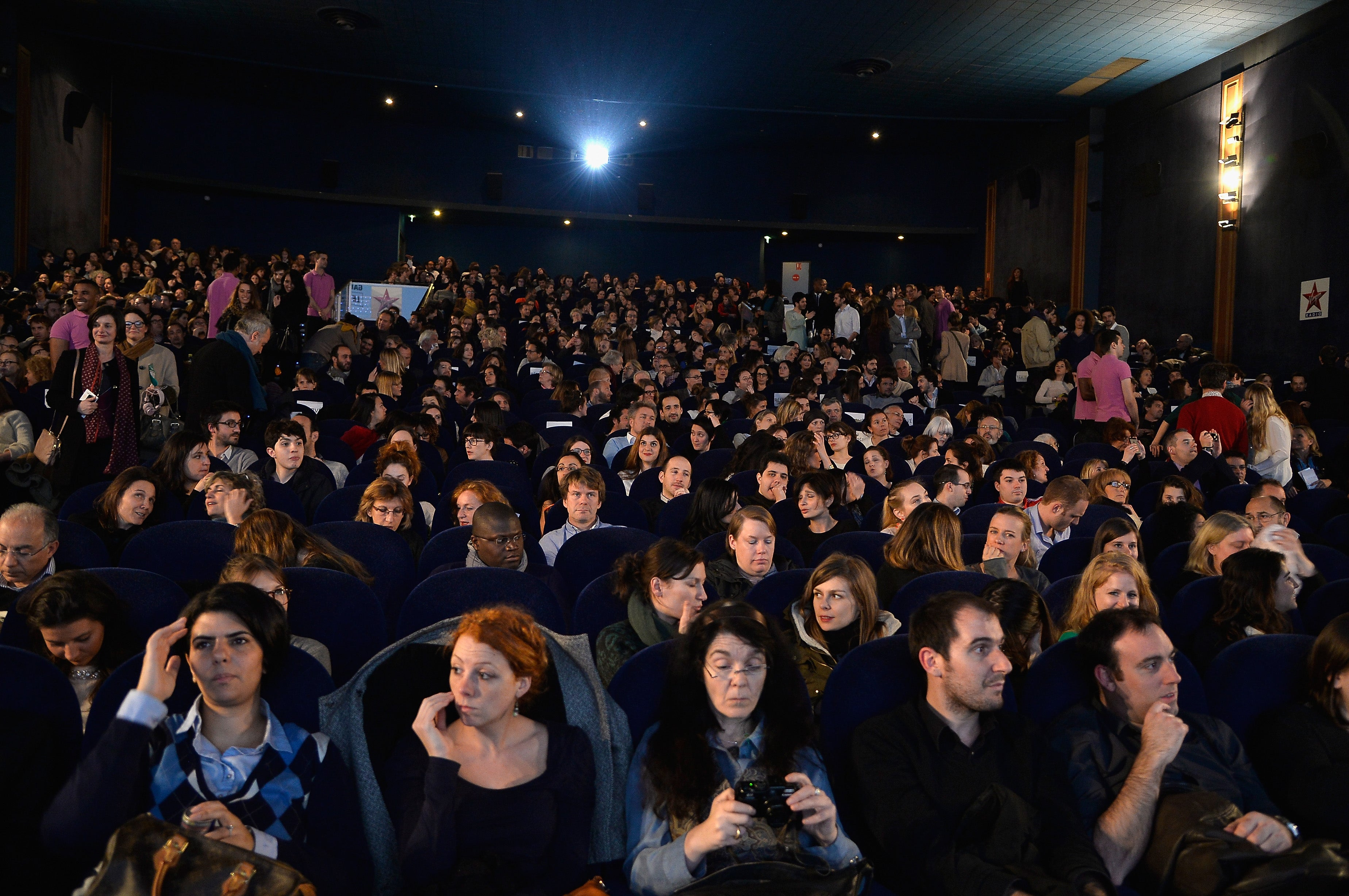 Audience watching a film