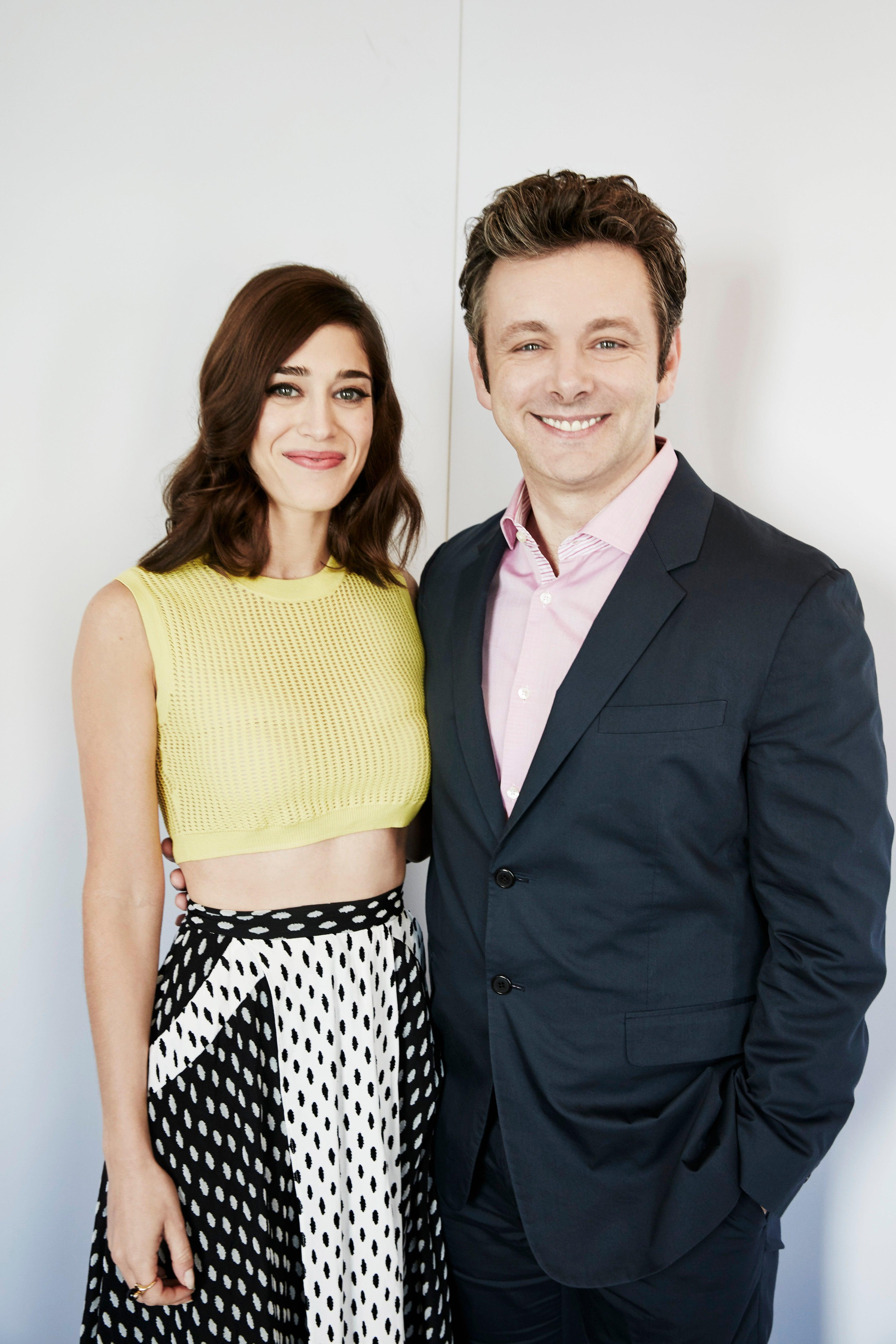 Actors Lizzy Caplan and Michael Sheen