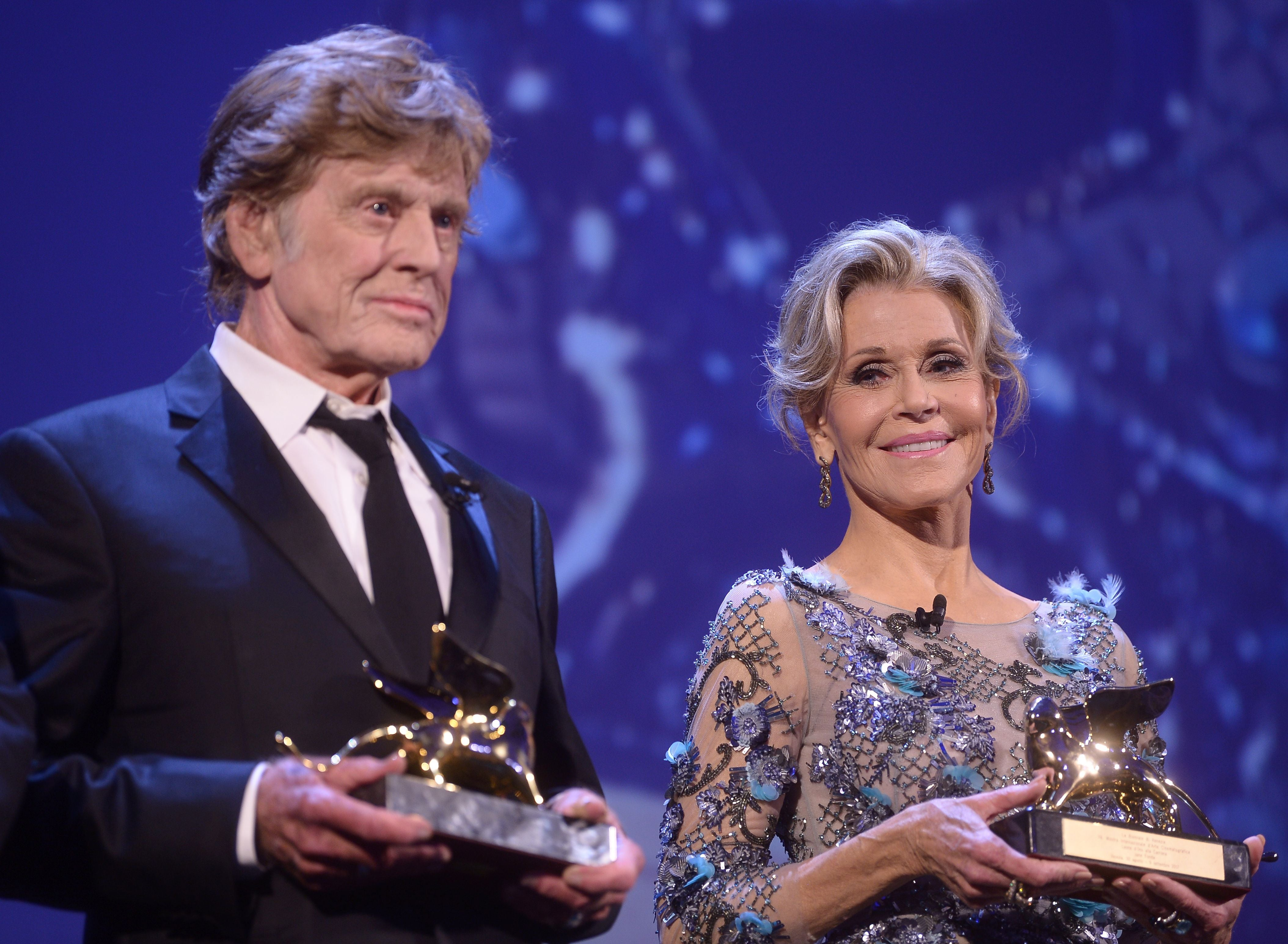 Robert Redford and Jane Fonda receive the Golden Lion Lifetime Achievement at the 74th Venice Film Festival