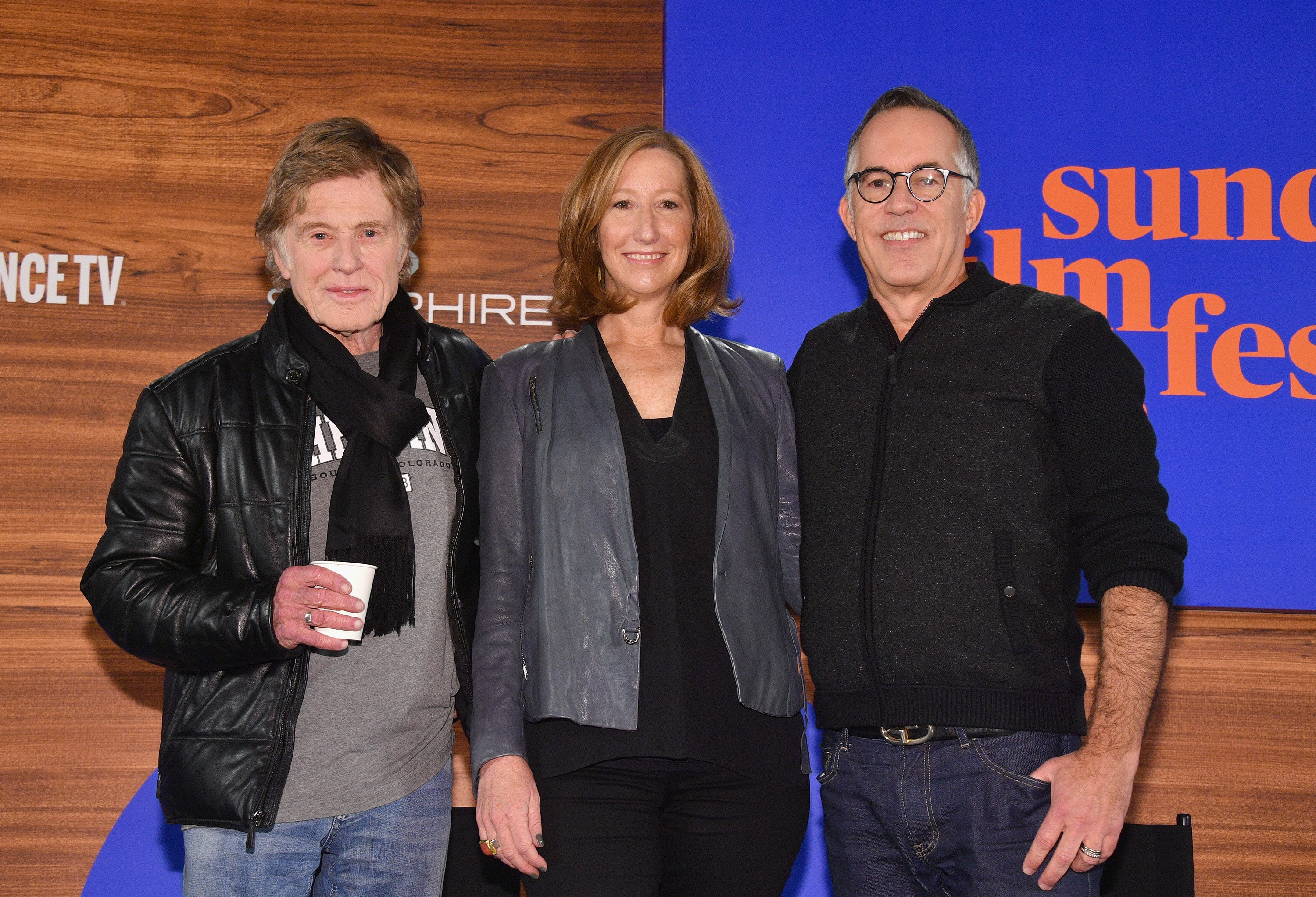 L-R) President and Founder of Sundance Institute Robert Redford, Executive Director of Sundance Institute Keri Putnam and Sundance Film Festival Director John Cooper attend the 2018 Sundance Film Festiva