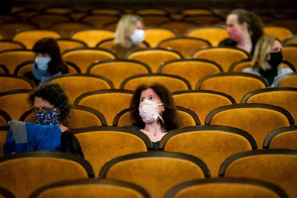 Masked attendees in movie theater, may 2020