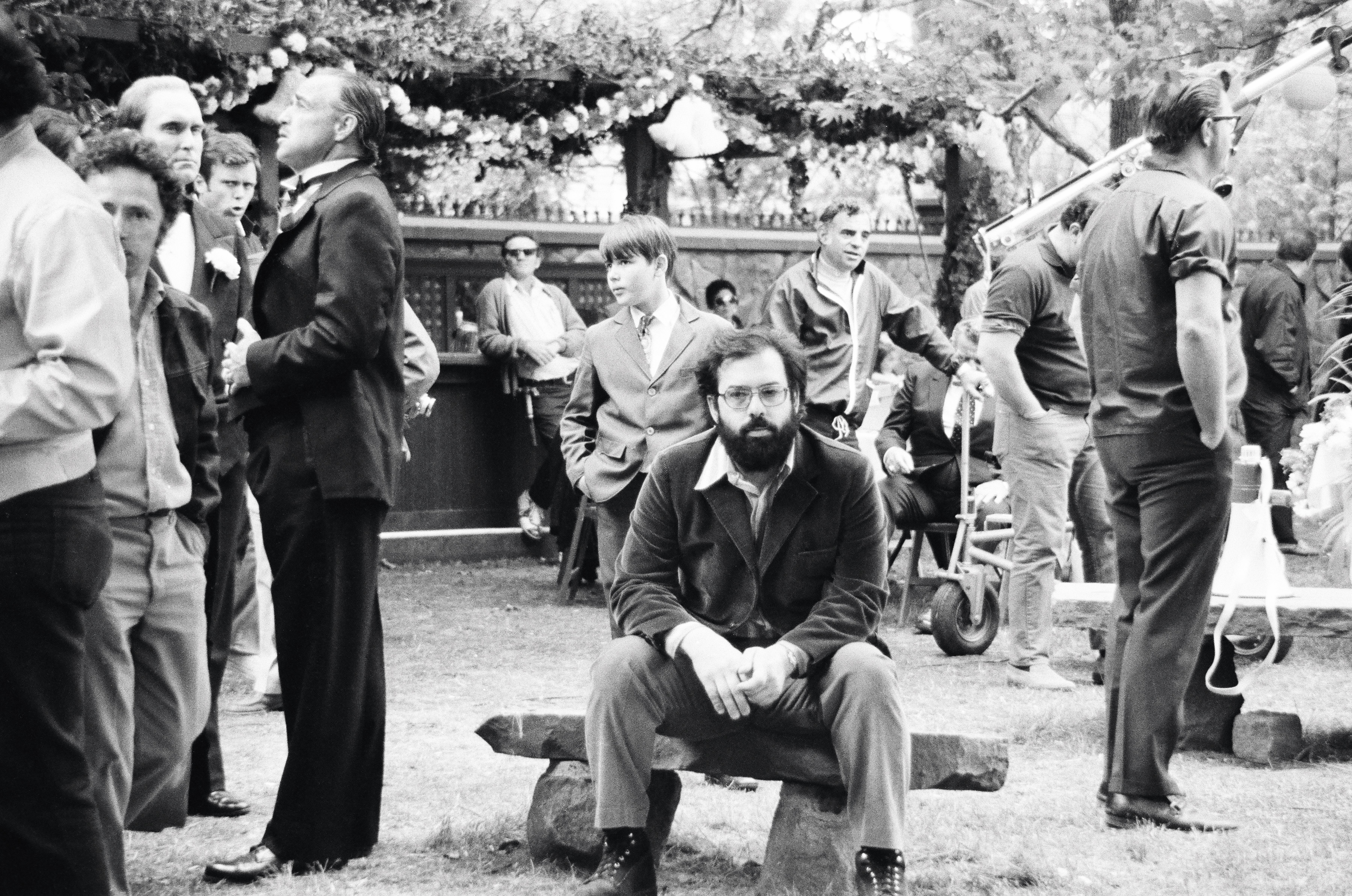 "Direcror Francis Ford Coppola, Goldem Globe Winner, on the set of ""The Godfather"""