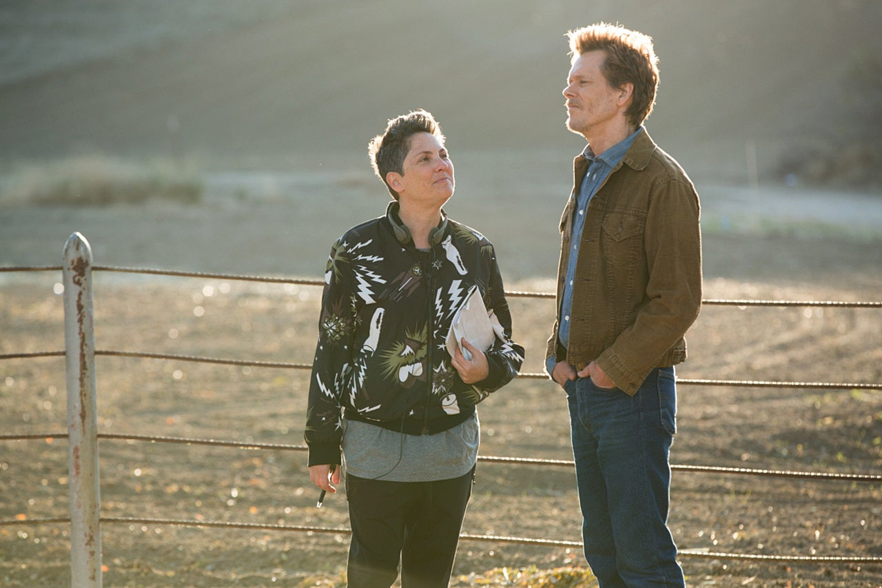 "Jill Soloway and Kevin Bacon on the set of ""I Love Dick"""