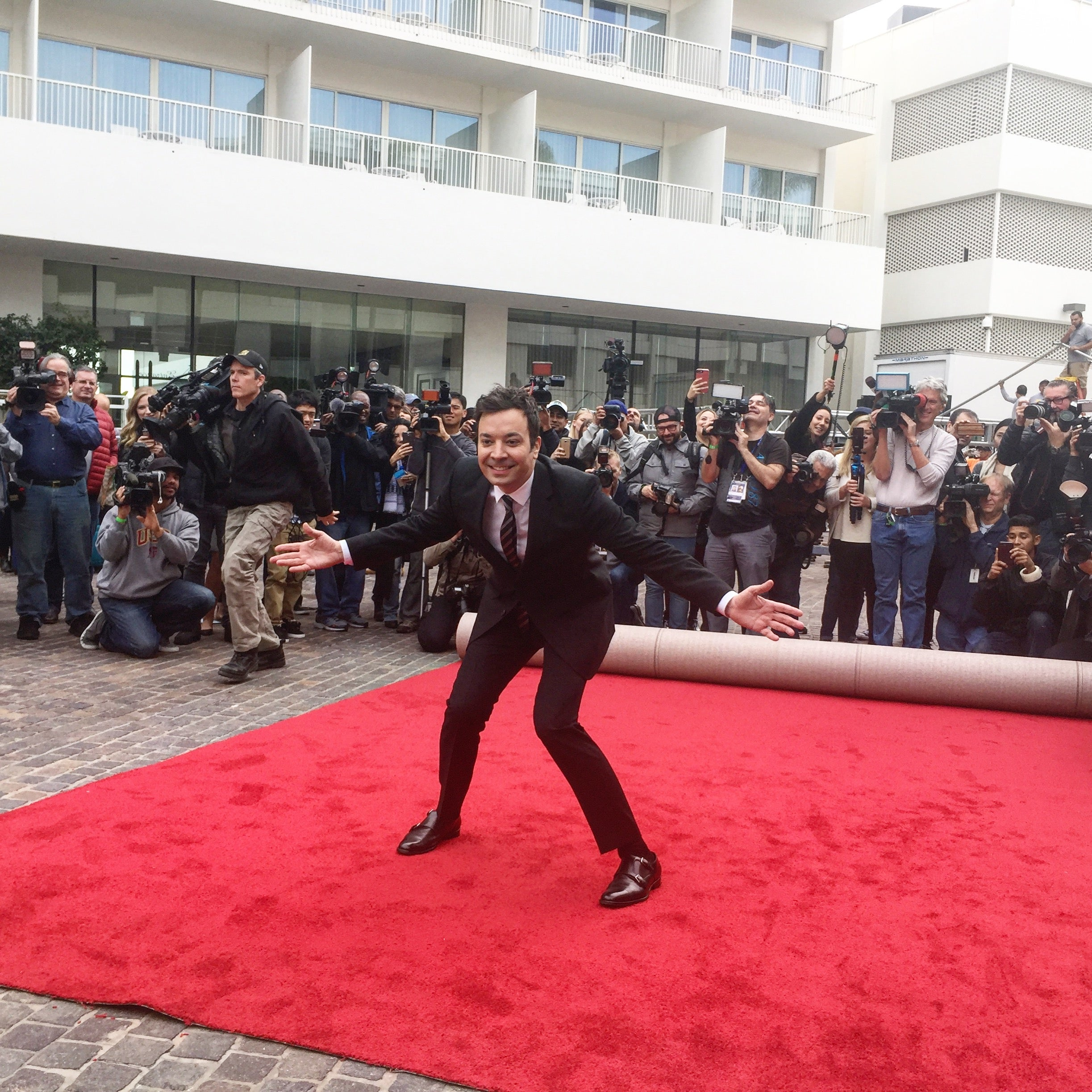 Jimmy Fallon rolls out the red carpet for the 74th Golden Globe Awards
