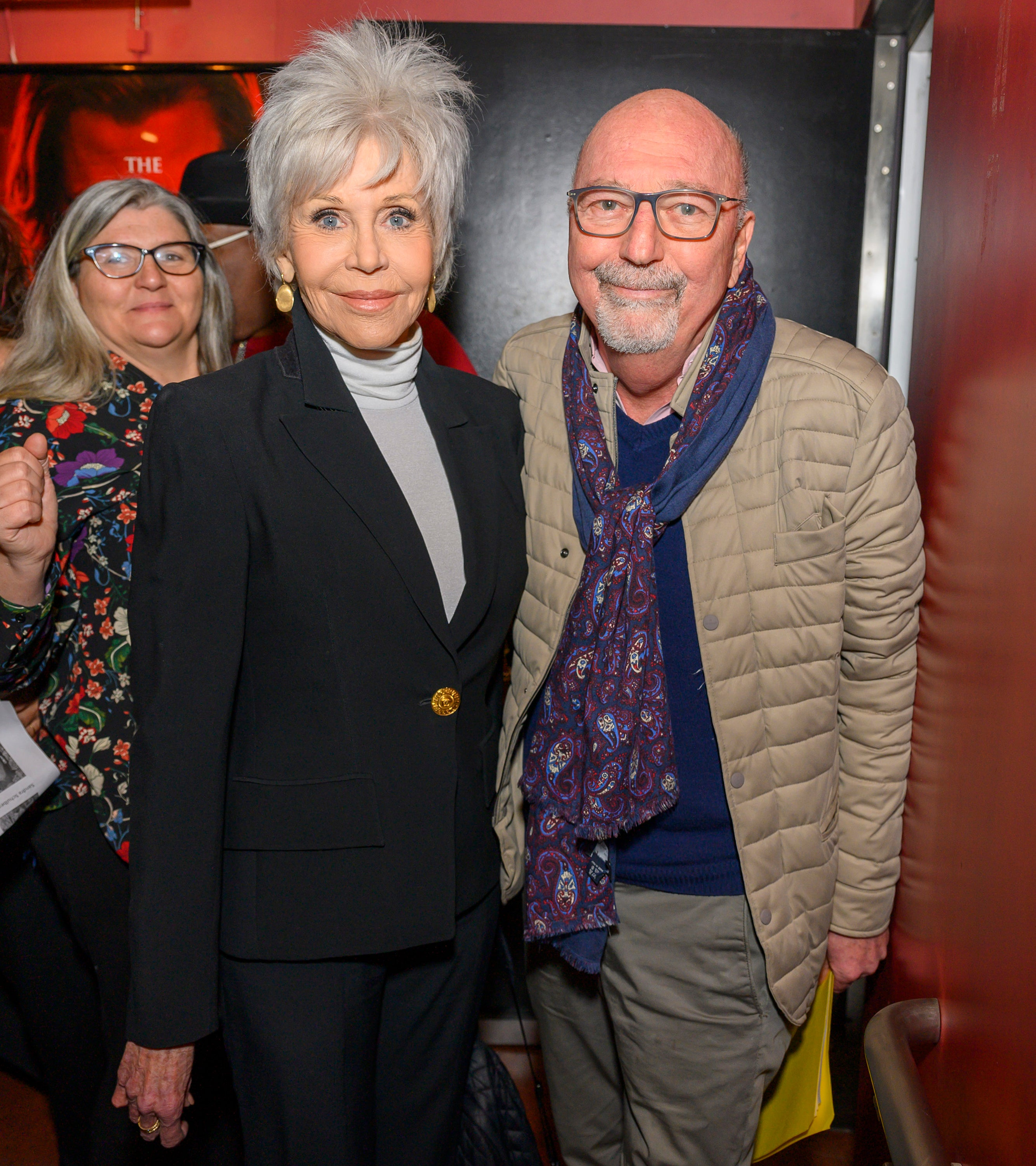 Jane Fonda with HFPA President  Lorenzo Soria and Cinematheque programmer Gwen Deglise