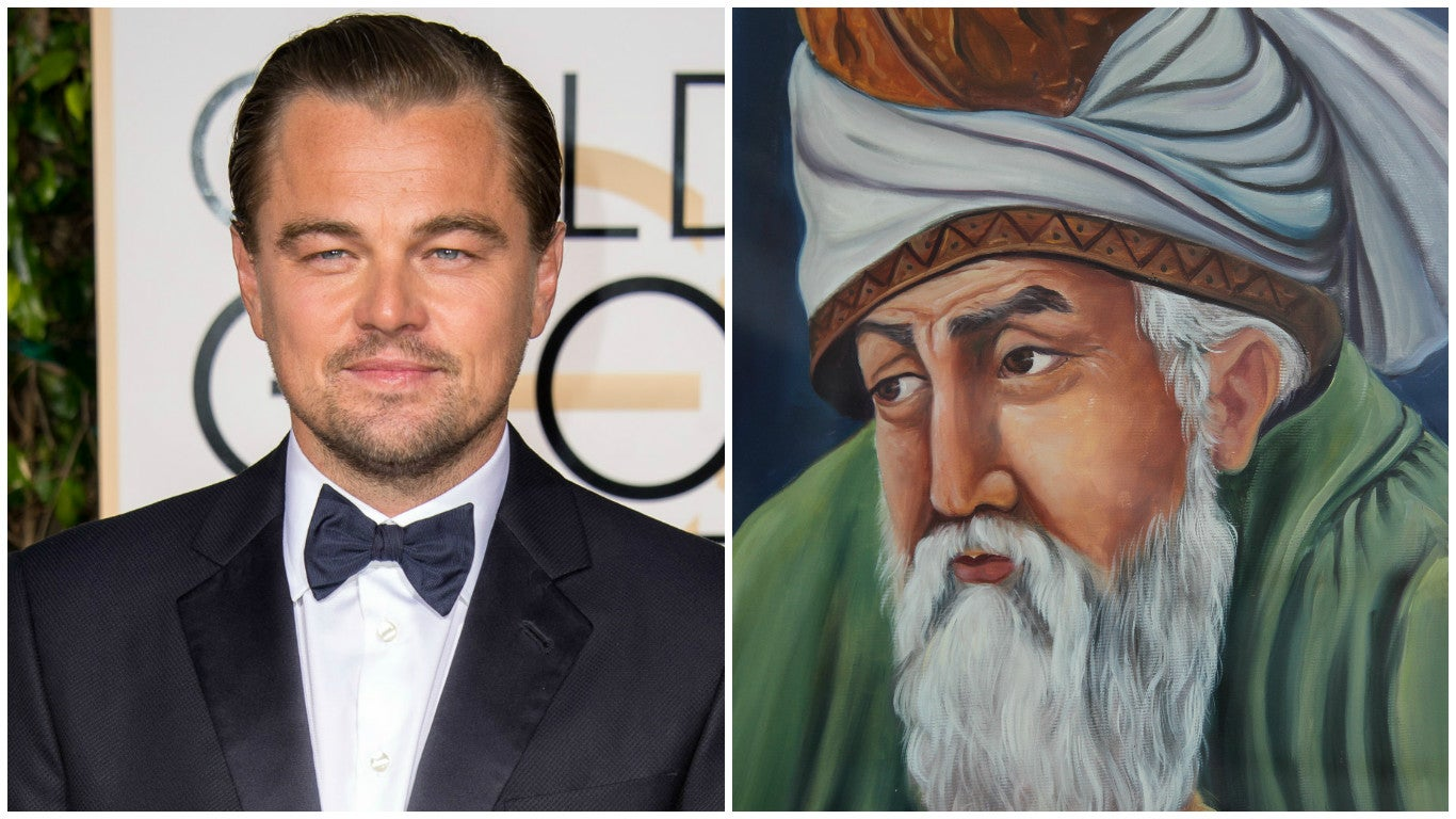 Golden Globe winner Leonardo diCaprio and Persian poet Rumi
