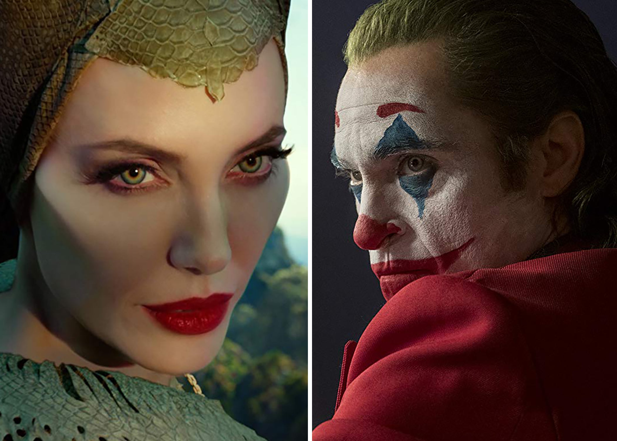 "Angelina Jolie in ""Maleficent: Mistress of Evil"" and Joaquin Phoenix in ""Joker"""