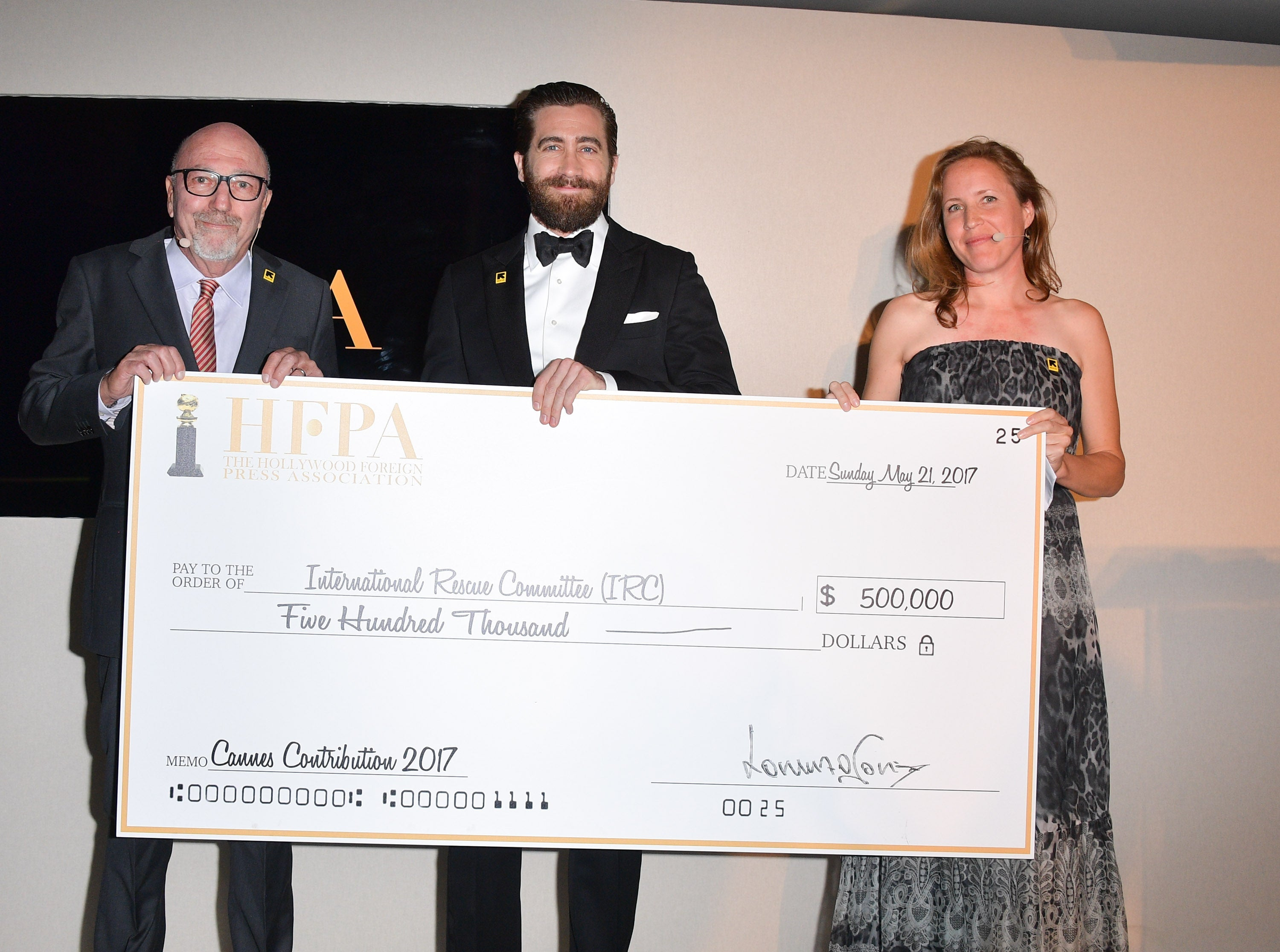 Jake Gyllenhaal, Lorenzo Soria and IRC representative at the HFPA event at Cannes 2017