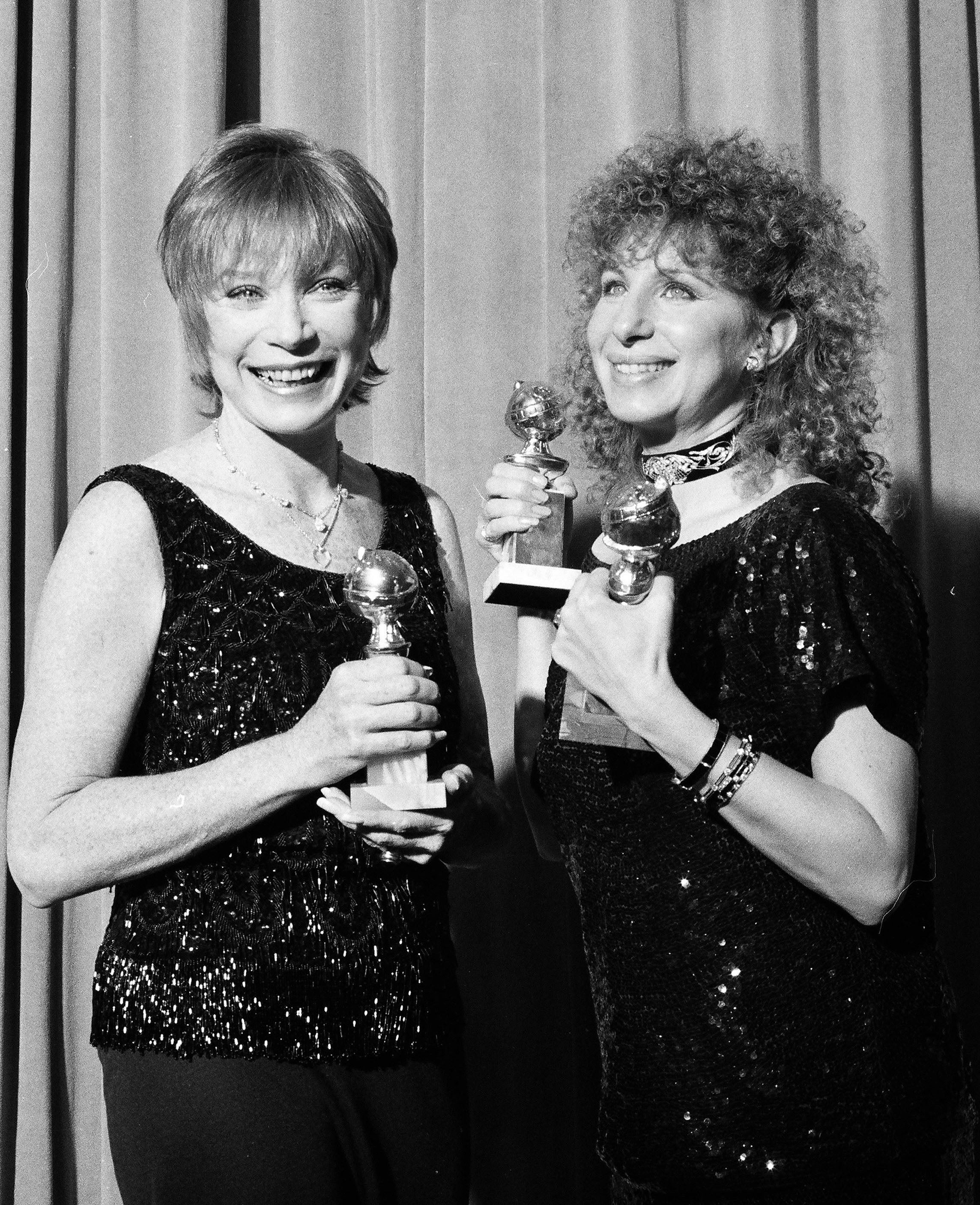 Shirley MacLaine and Barbra Streisand, 1984, at the Golden Globes