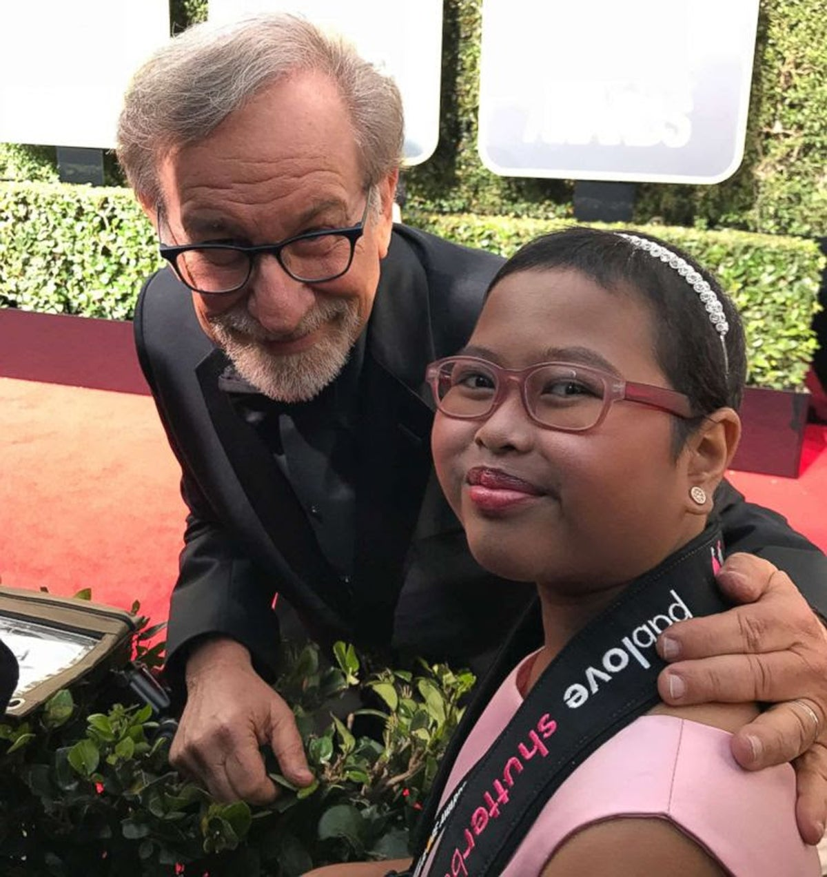 Steven Spielberg and Francine Gascon, our 2018 Golden Globes Pablove Shutterbug