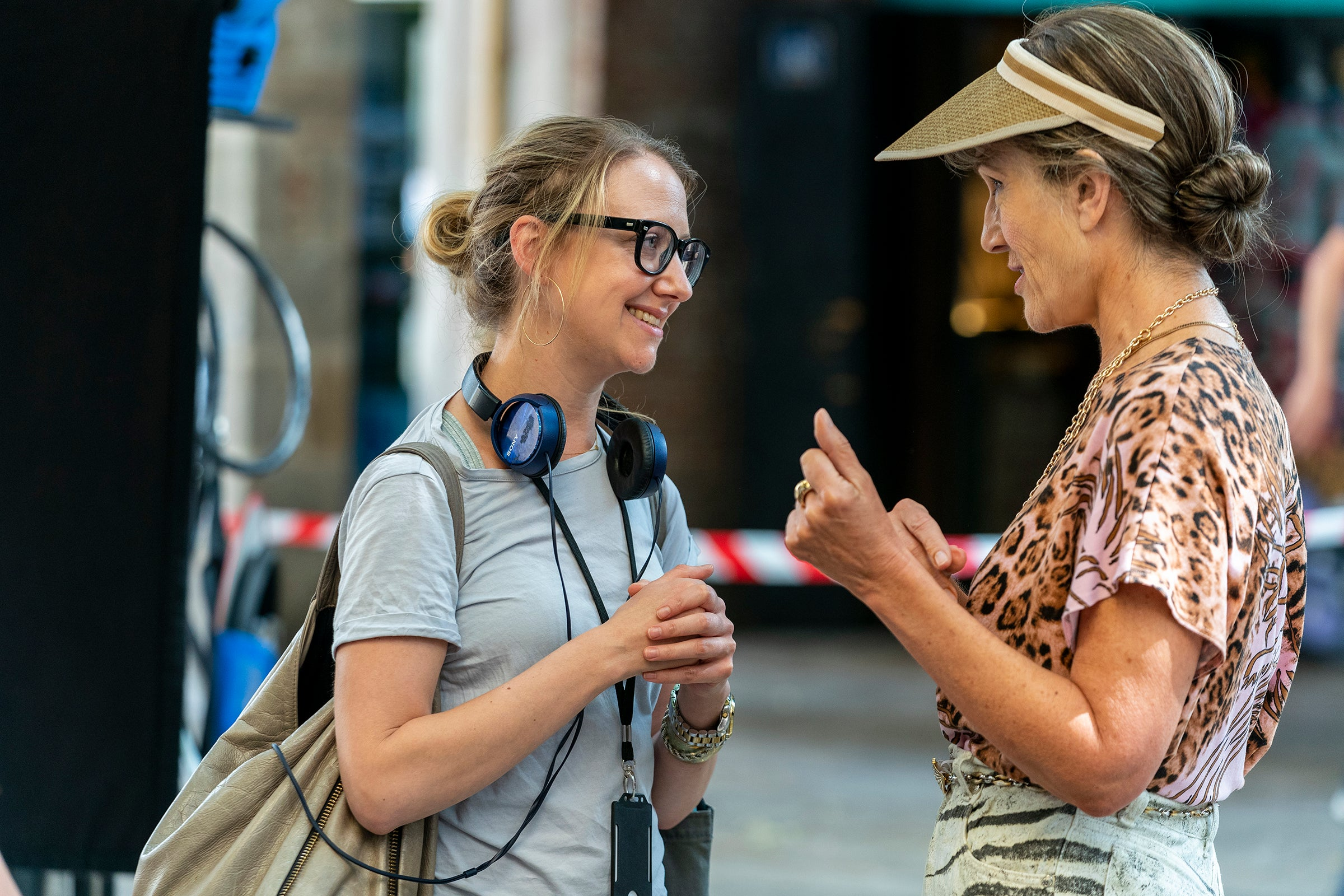 "Suzanne Heathcote on set of ""Killing Eve"" with Dame Harriet Walter"