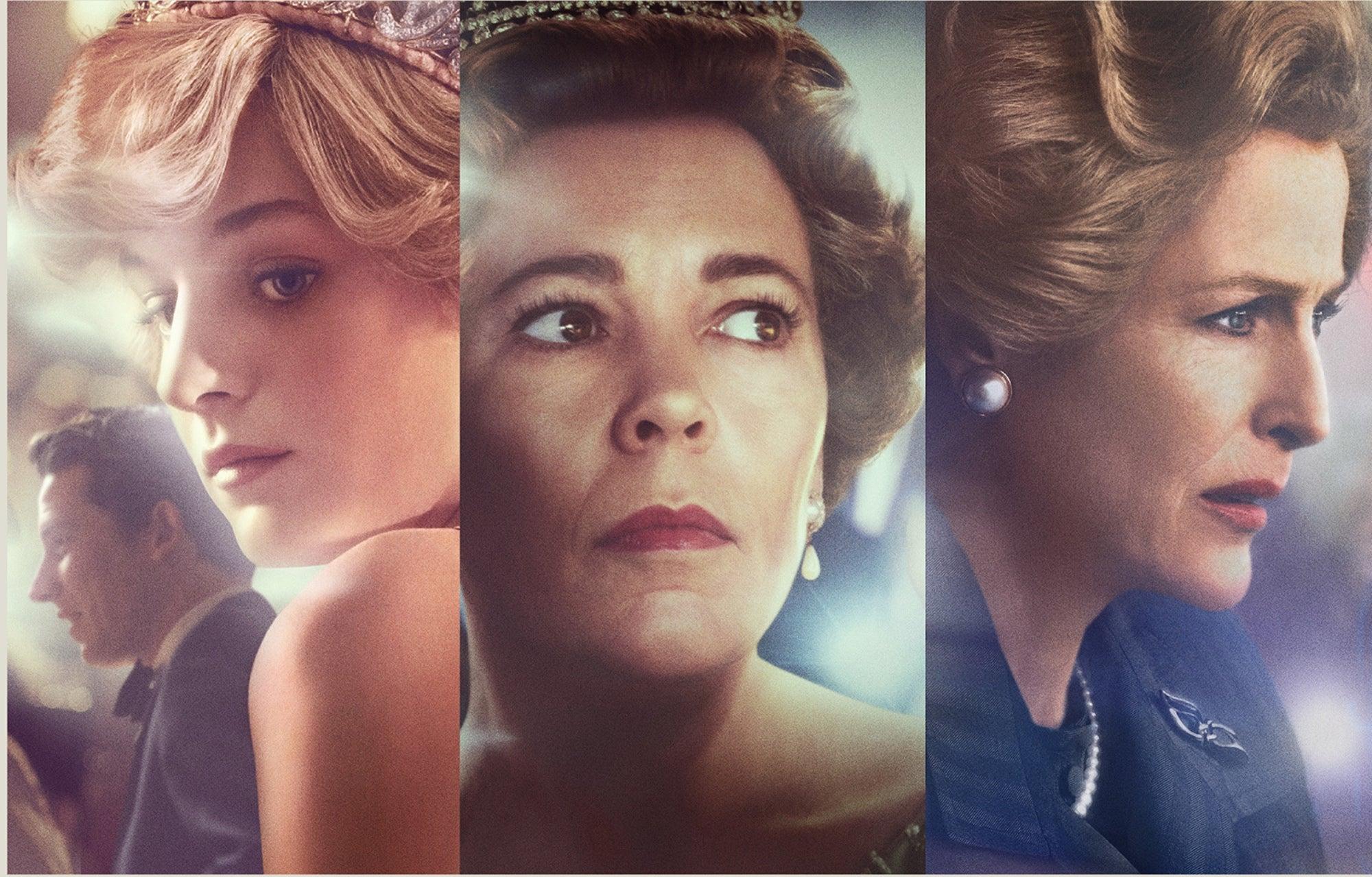 Emma Corrin, Olivia Colman and Gillian Anderson, The Crown s4