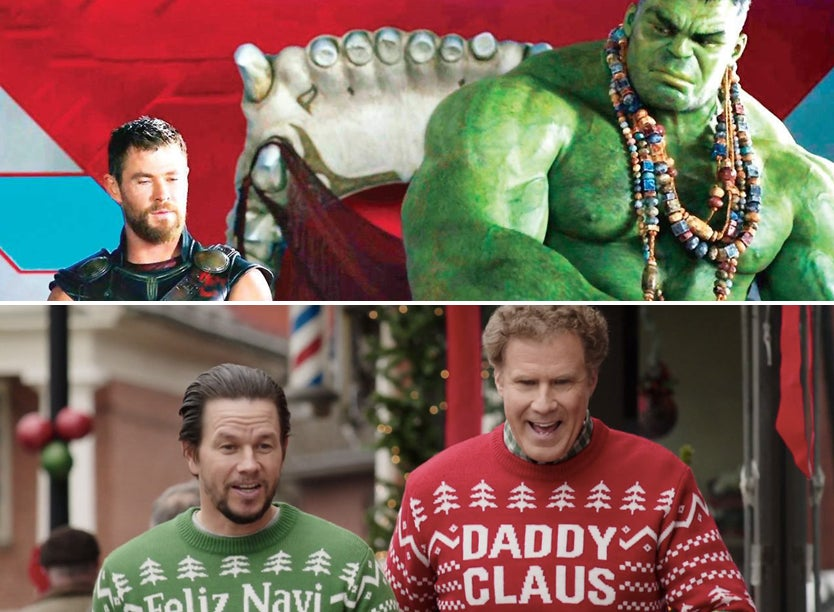 "Scenes from ""Thor: Ragnarok"" and ""Daddy's Home 2"""