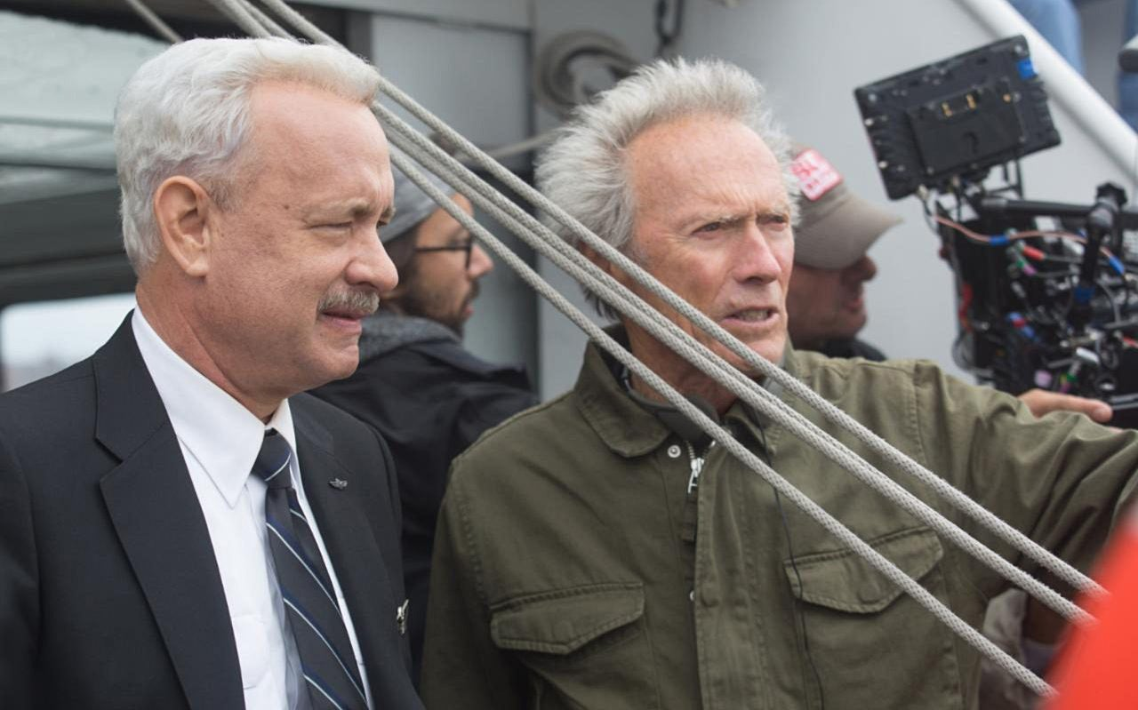 """Tom Hanks and Clint Eastwood on the set of """"Sully"""""""