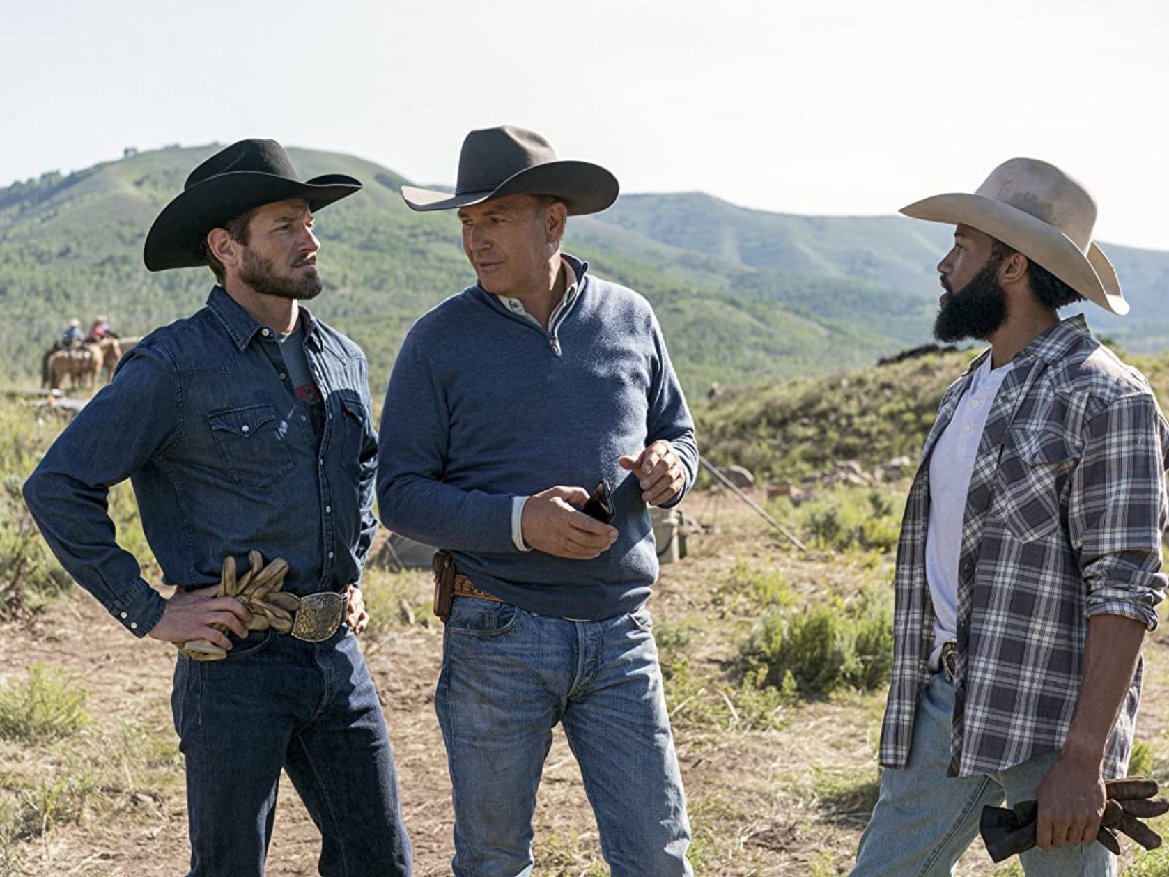 "Kevin Costner, Ian Bohen, and Denim Richards in ""Yellowstone"" (2020)"