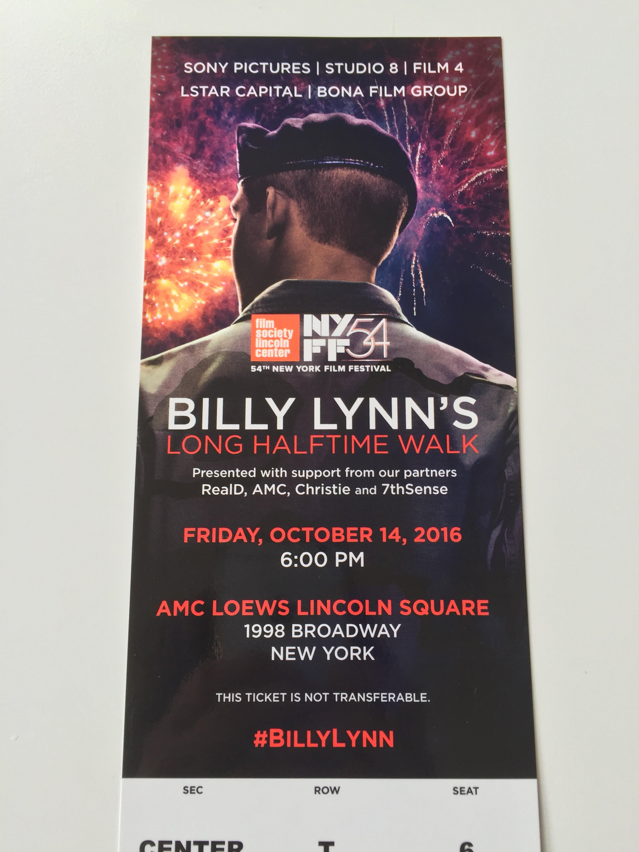 Ticket to the premiere of Ang Lee's Billy Lynn's Long Halftime Walk at the New York Film Festival 2016