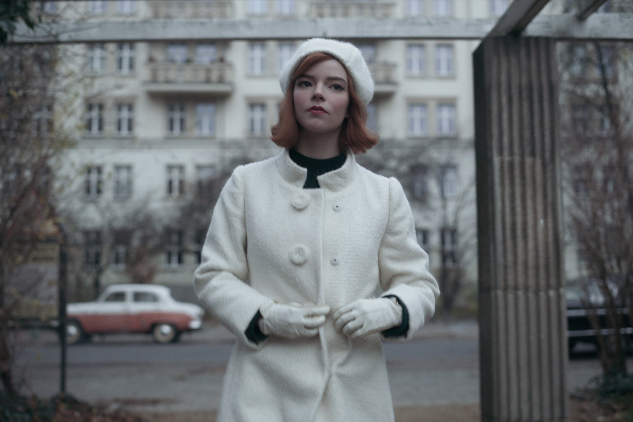 """""""At the end of her Russian stay we created this look,"""" says Binder. """"It shows tremen-dous confidence. She has arrived. It is classic. She knows who she is and owns it in understated simplicity.""""  Note the beret – a head adornment seen in Emily in Paris –"""