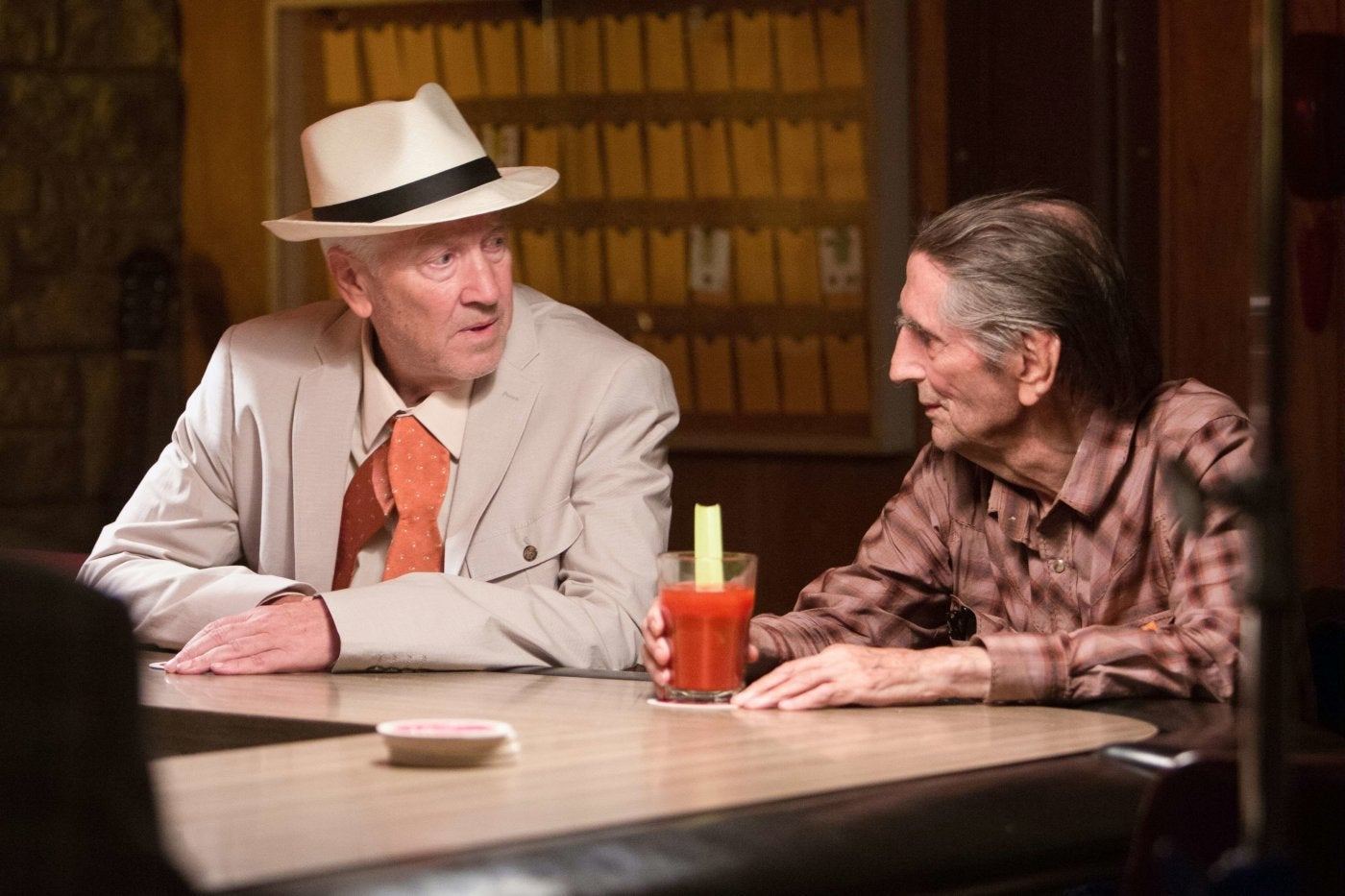 A scene from the movie Lucky, with Harry Sean Stanton  and David Lynch