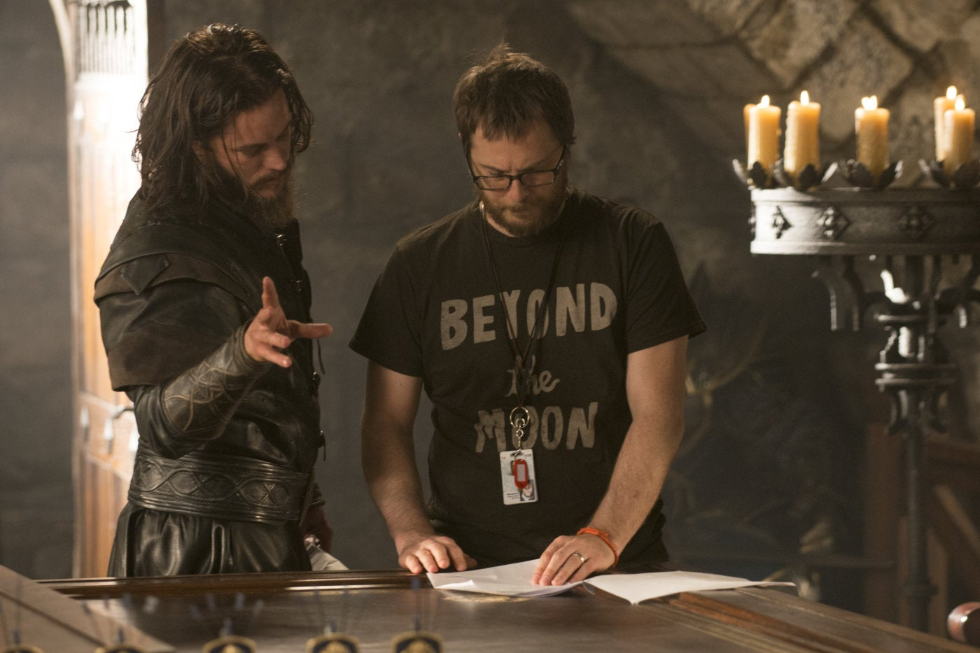 Duncan Jones and Travis Fimmel on the set of Warcraft