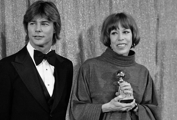 Actos Jan-Michael Vincent, Golden Globe nominee, and Carol Burnett, Golden Globe winner, 1977