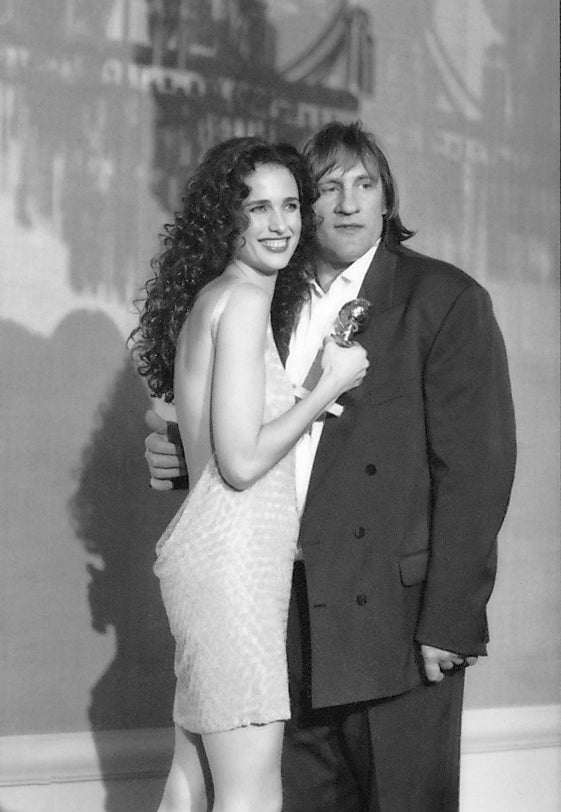 Gerard Depardieu and Andie McDowell at the Golden Globes, 1991