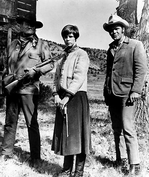 """A scene from, """"True Grit"""", 1969, John Wayne, Glen Campbell, Kim Darby"""