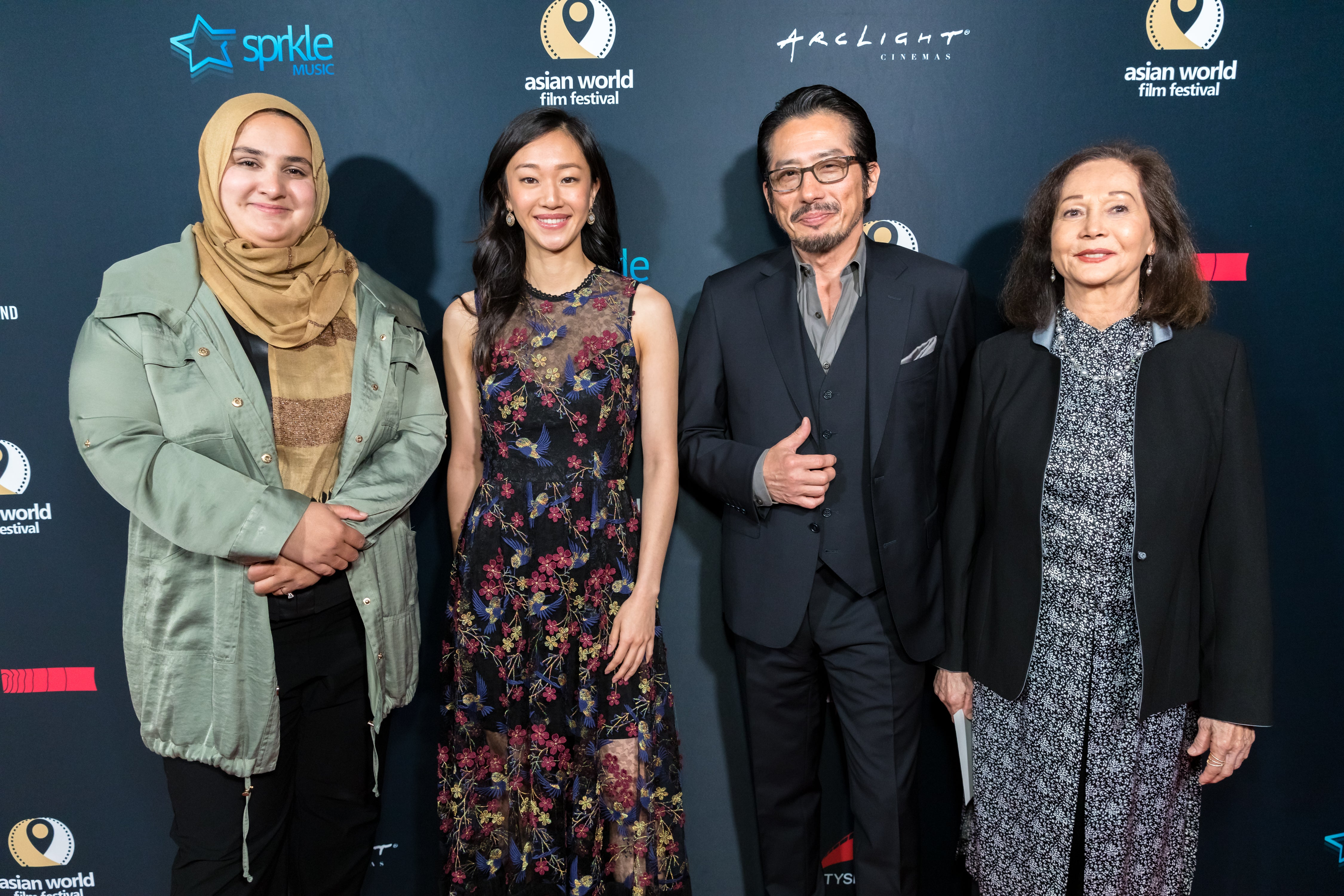 Asian World Film Festival honorees Lena Khan, Tiffany Chu, Hiroyuki Sanada and Nancy Kwan attend the Opening Night For the 5th Annual Asian World Film Festival on November 6, 2019 in Culver City, California