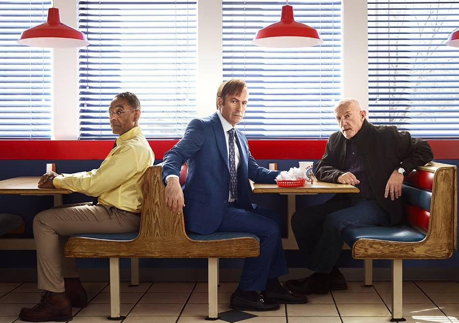 Bob Odenkirk, Giancarlo Esposito and Jonathan Banks in a scene from season 3 of the AMC series Better Call Saul