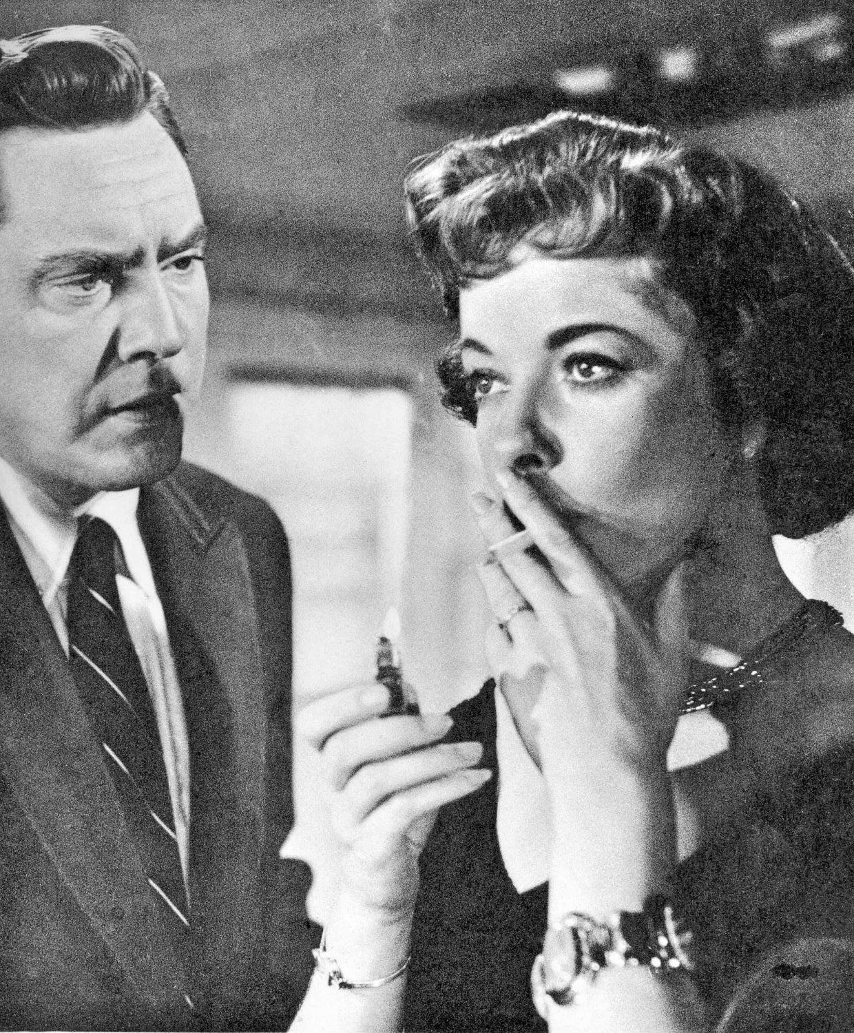 "Ida Lupino and Edmond O'Brien in a scene from ""The Bigamist"""