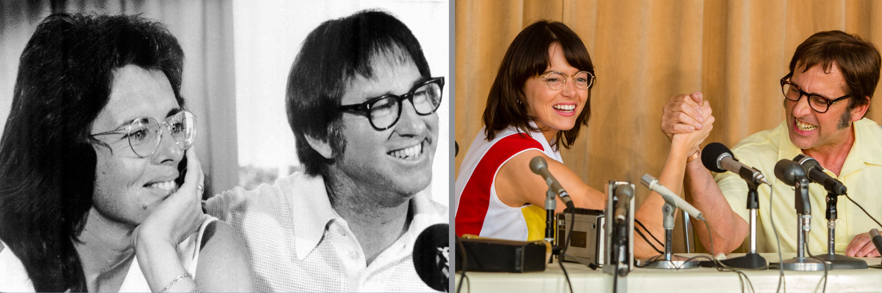 Billie Jean King with Bobby Riggs and Emma Stone with Steve Carell