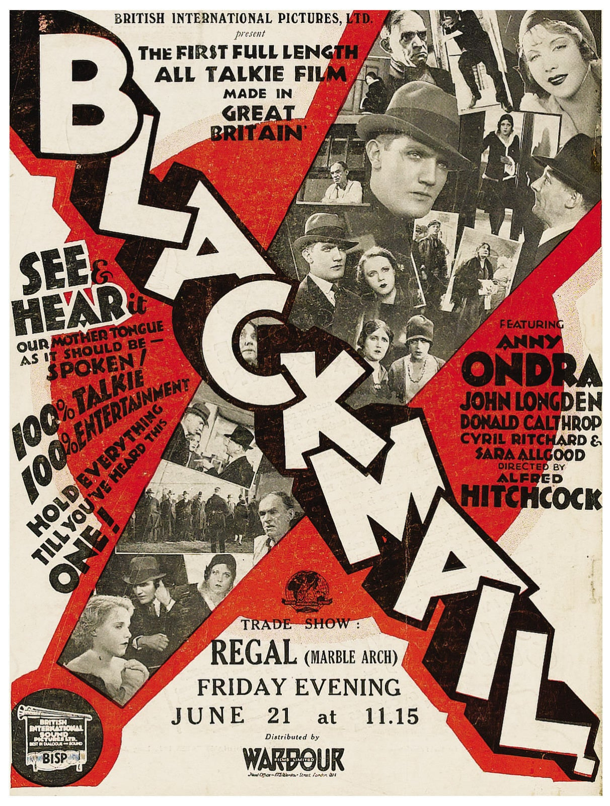 "Poster for ""Blackmail"", 1929"