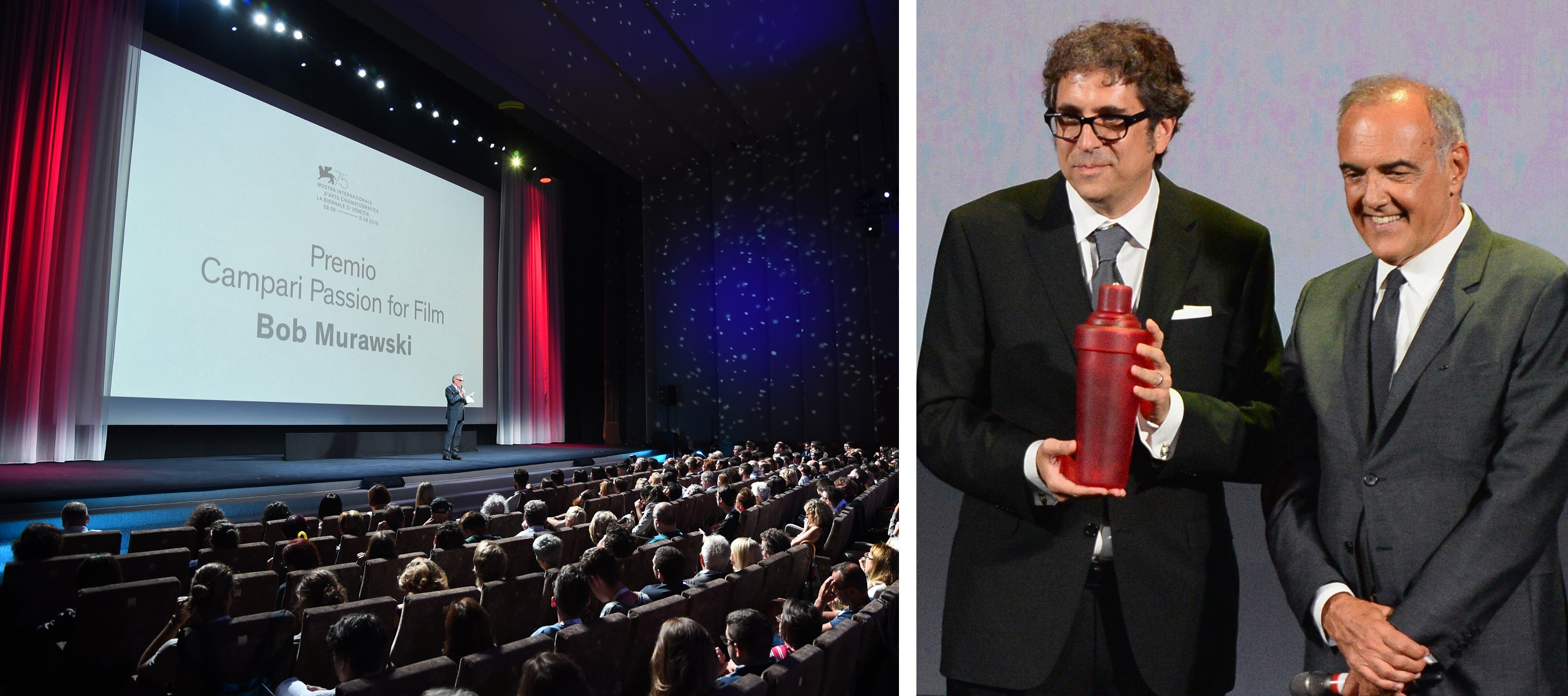 Bob Murawski recevies the Campari Passion for Film Award from director of the festival Alberto Barbera prior to the Screening of The Netflix Film The Other Side Of The Wind during the 75th Venice Film Festival.