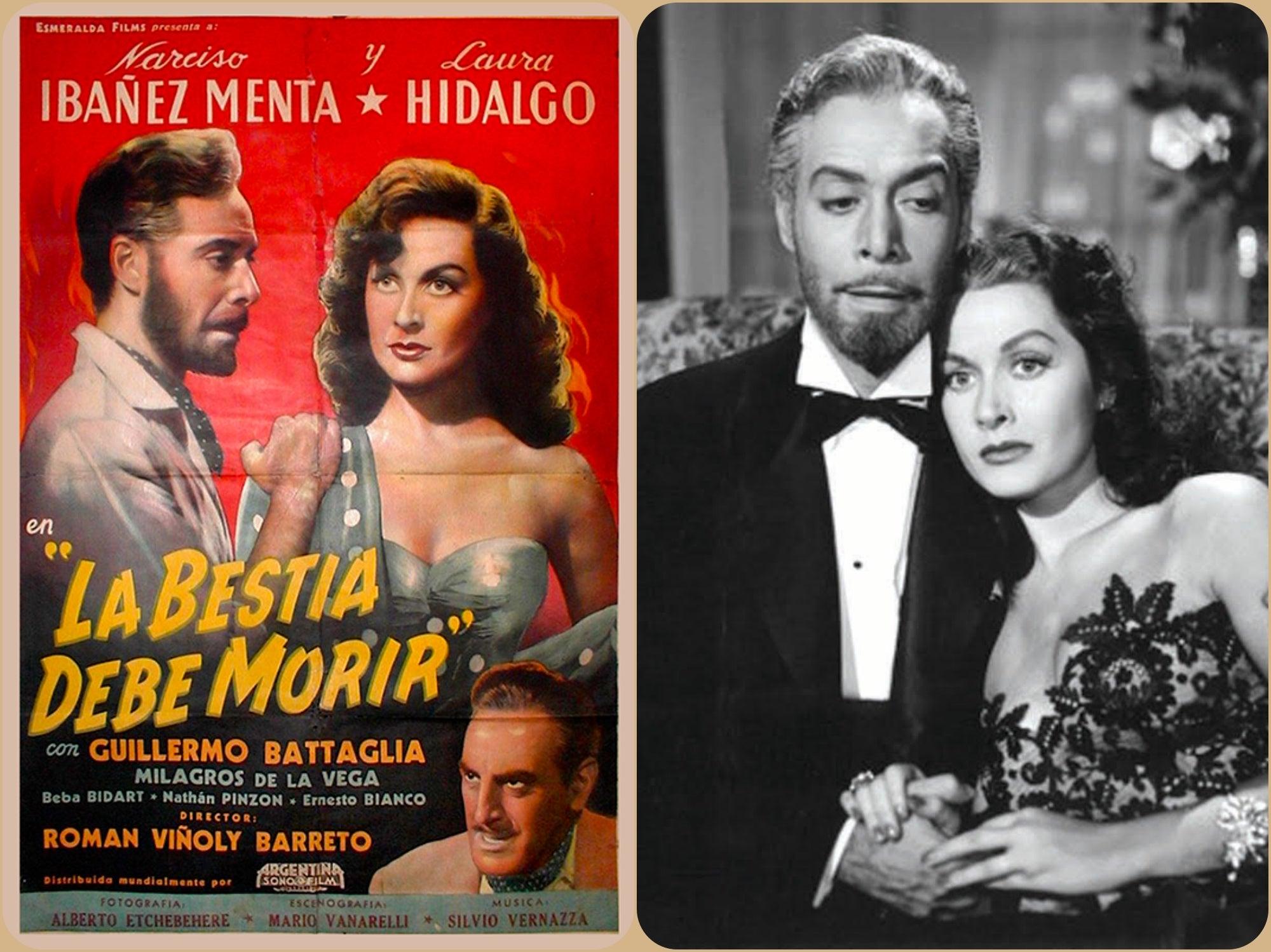 "Scene and poster of ""La Bestia debe morir"""